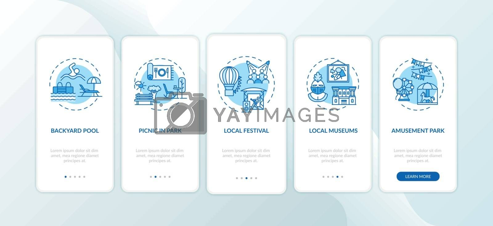 Holistay ideas onboarding mobile app page screen with concepts. Backyard pool. Amusement park. Walkthrough 5 steps graphic instructions. UI vector template with RGB color illustrations