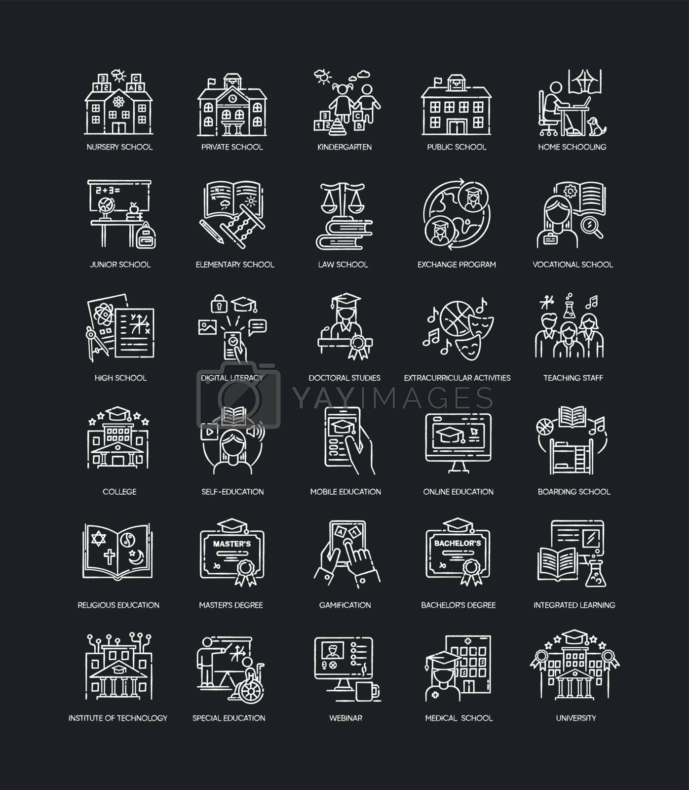 Education chalk white icons set on black background. Learning process, student life. Modern education system. Academic institutions and teaching types. Isolated vector chalkboard illustrations