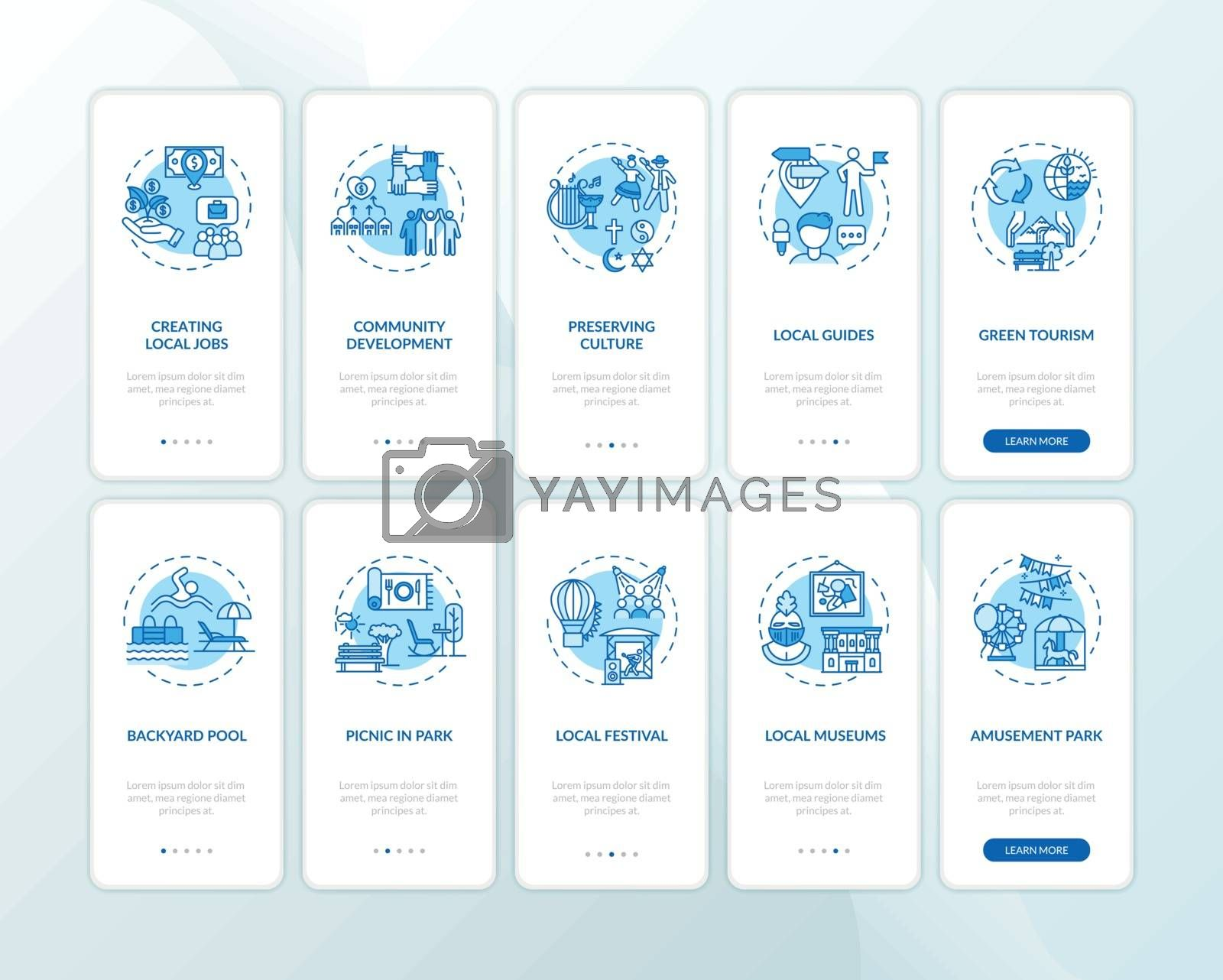 Local tourism and staycation onboarding mobile app page screen with concepts set. Domestic travel, holistay. Walkthrough 5 steps graphic instructions. UI vector template with RGB color illustrations