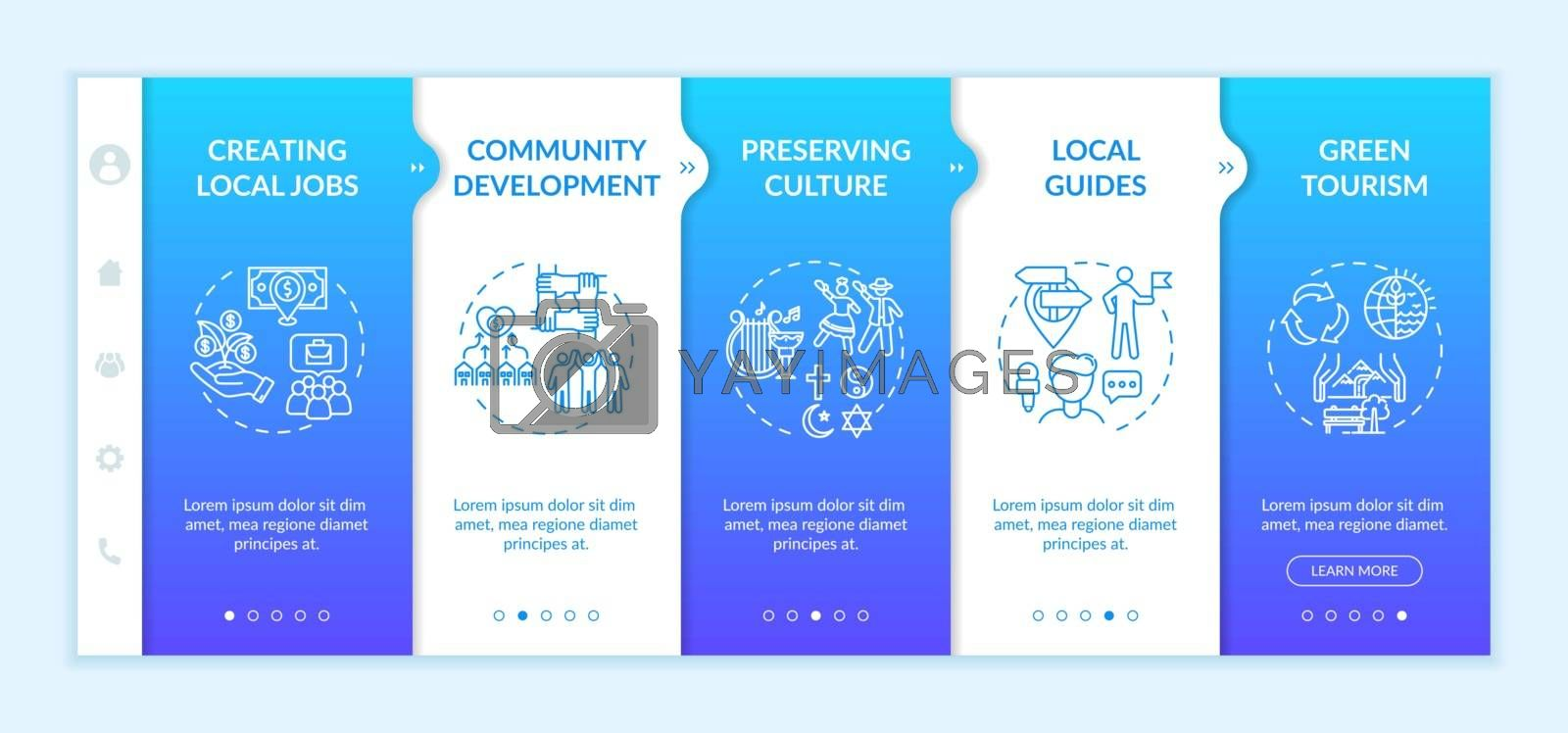 Local tourism benefits onboarding vector template. Community development. Green tourism promotion. Responsive mobile website with icons. Webpage walkthrough step screens. RGB color concept