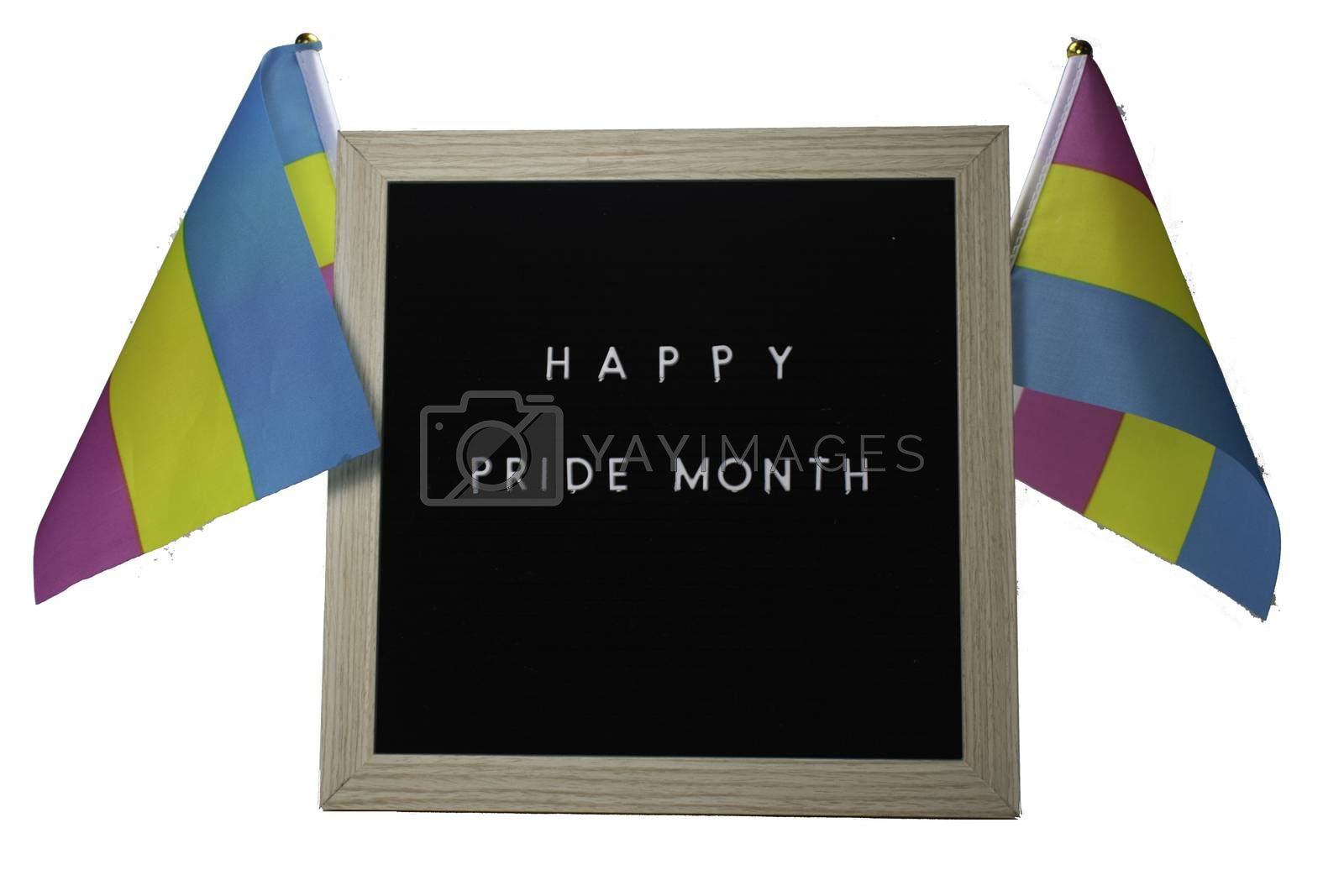 A Black Sign With a Birch Frame That Says Happy Pride Month in White Letters With Pride Flags Behind It on a Pure White Background