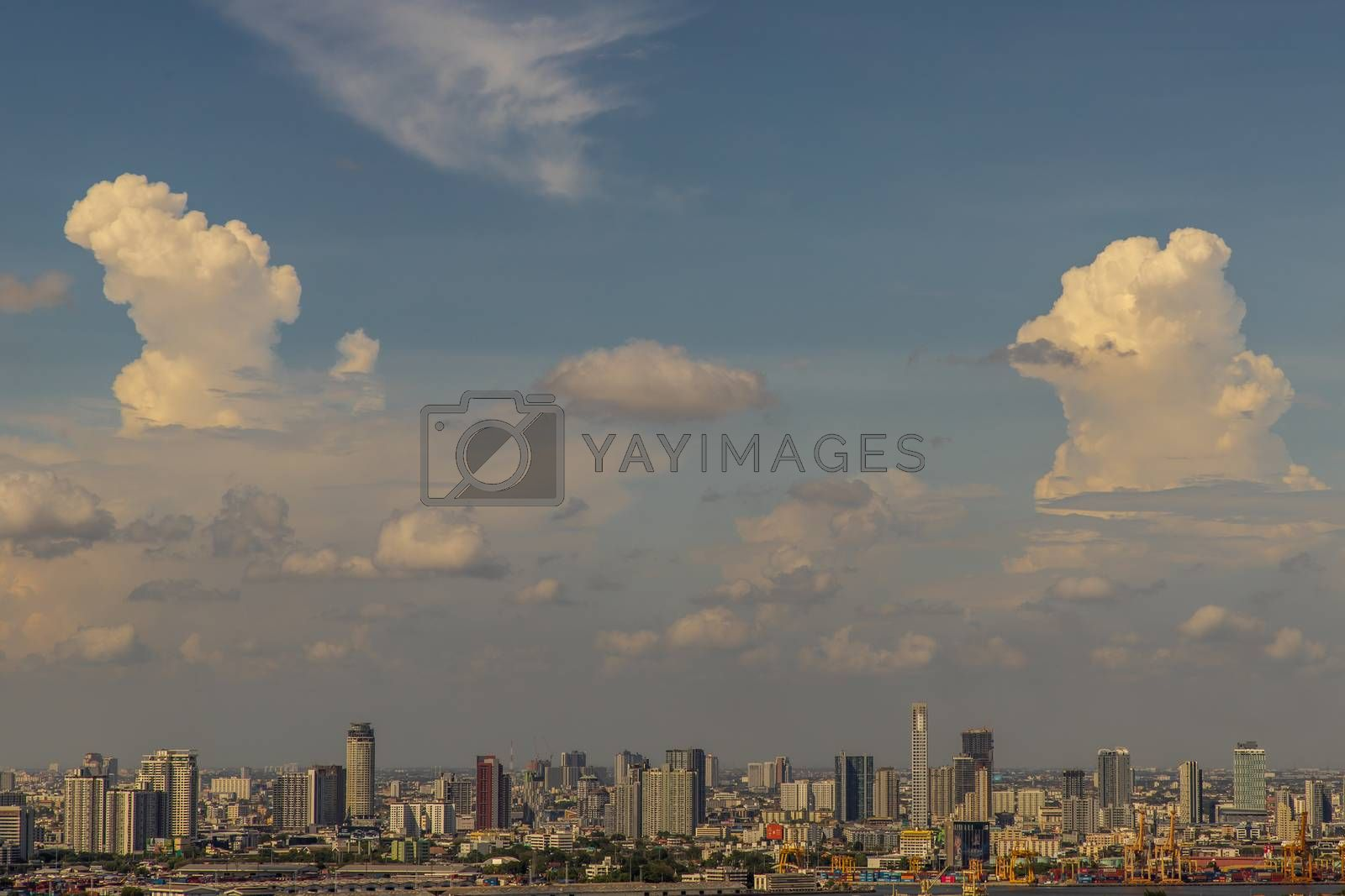 Bangkok, thailand - May 20, 2020 : Sky view of Bangkok with skyscrapers in the business district in Bangkok in the evening beautiful twilight give the city a modern style. Selective focus.