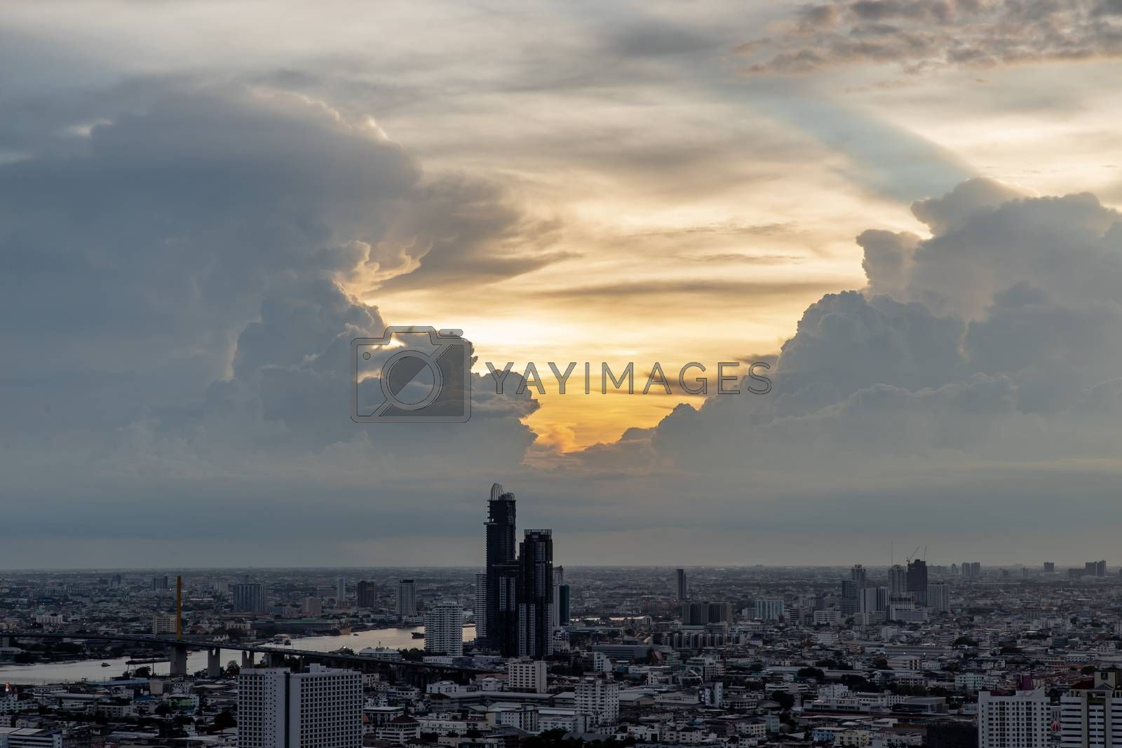 Bangkok, thailand - May 27, 2020 : Sky view of Bangkok with skyscrapers in the business district in Bangkok in the evening beautiful twilight give the city a modern style. Selective focus.