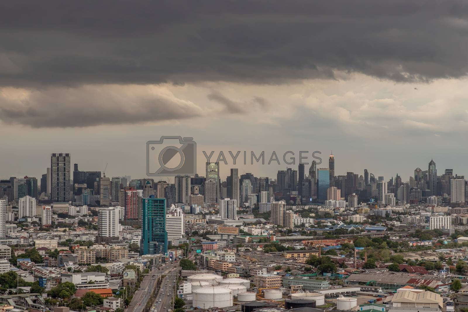 Bangkok, thailand - May 28, 2020 : Sky view of Bangkok with skyscrapers in the business district in Bangkok in the evening beautiful twilight give the city a modern style. Selective focus.