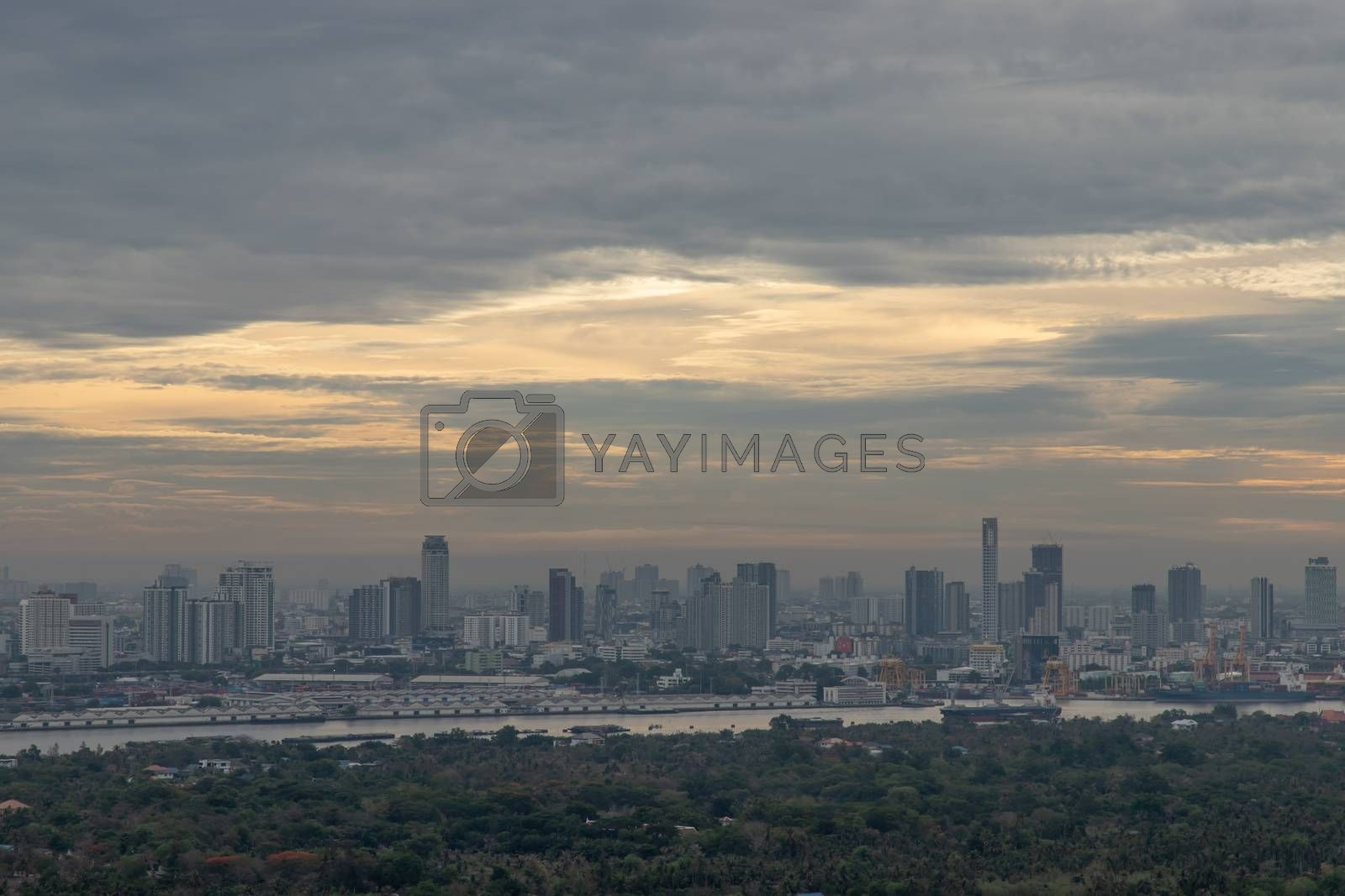 Bangkok, thailand - May 29, 2020 : Sky view of Bangkok with skyscrapers in the business district in Bangkok in the evening beautiful twilight give the city a modern style. Selective focus.