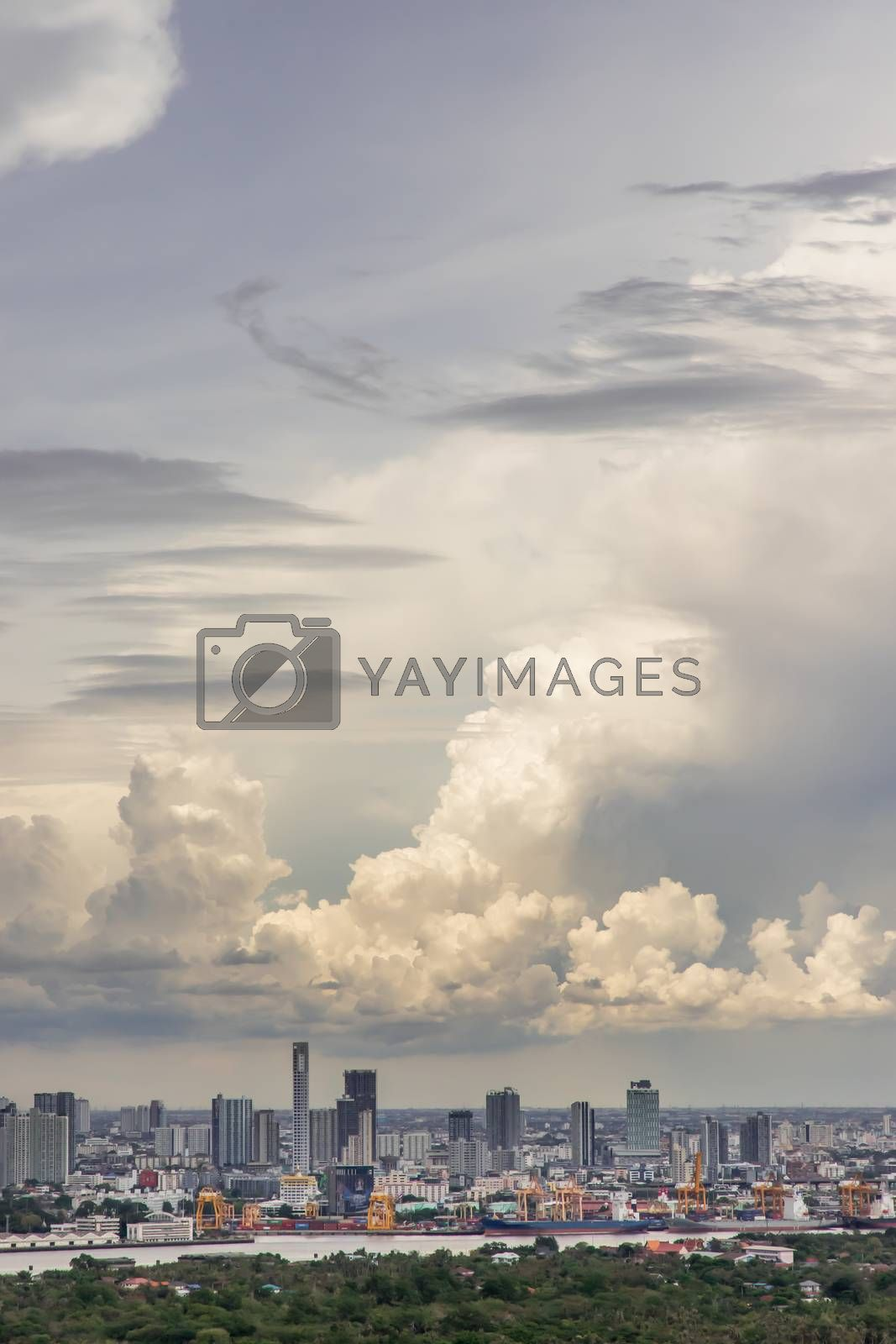 Bangkok, thailand - May 31, 2020 : Sky view of Bangkok with skyscrapers in the business district in Bangkok in the evening beautiful twilight give the city a modern style. Selective focus.