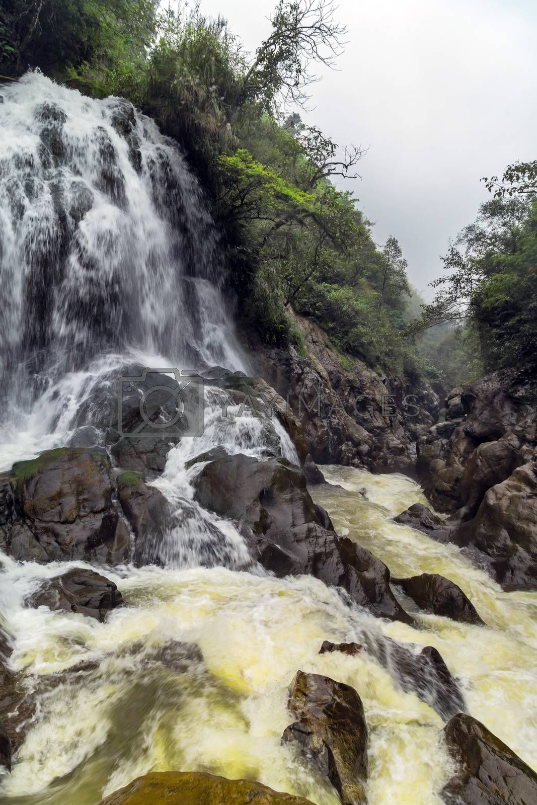 Waterfall cliffs rock mountain river motion. Landscape Sapa in Lao Cai Province in Vietnam.