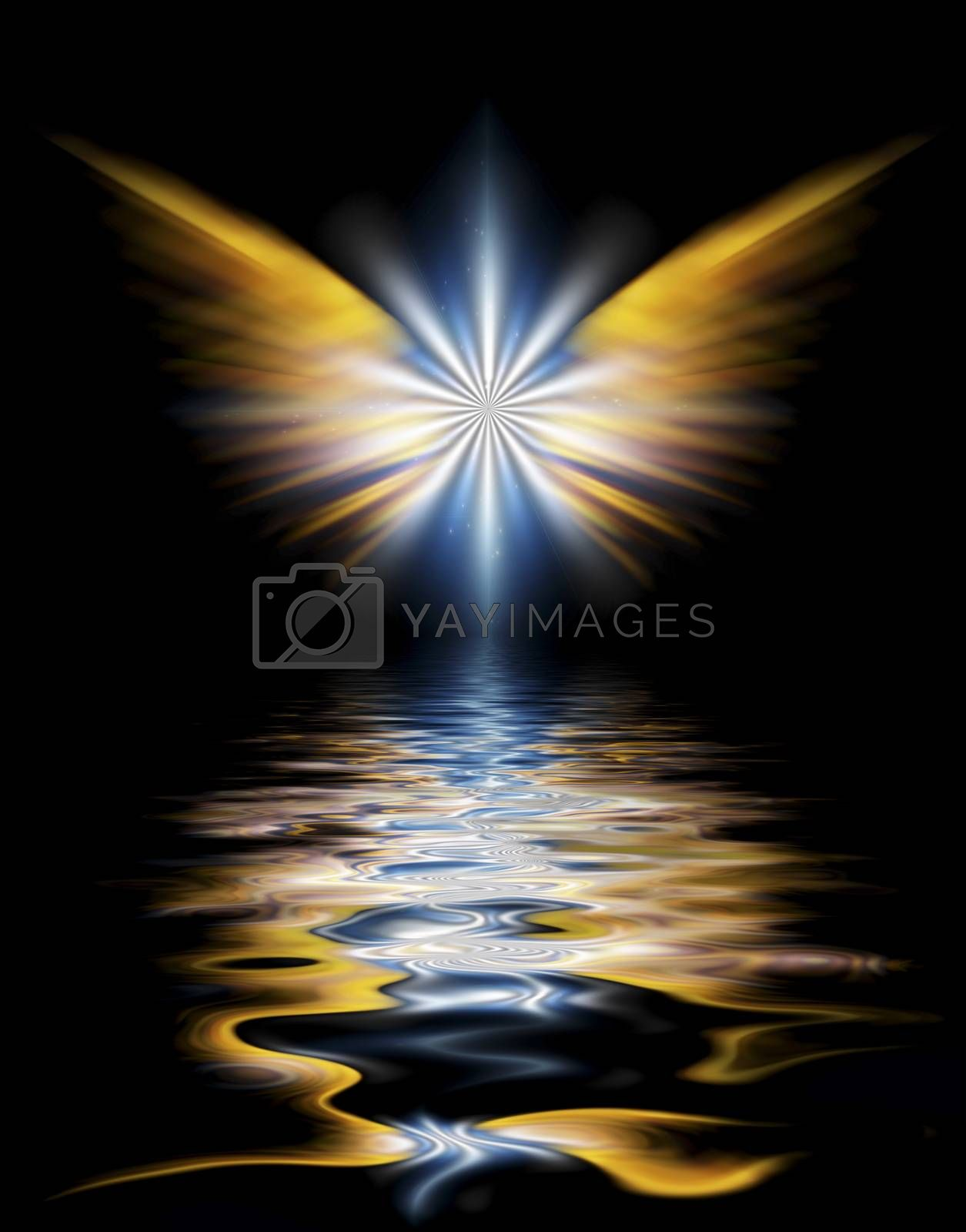 Shining angel wings above water surface