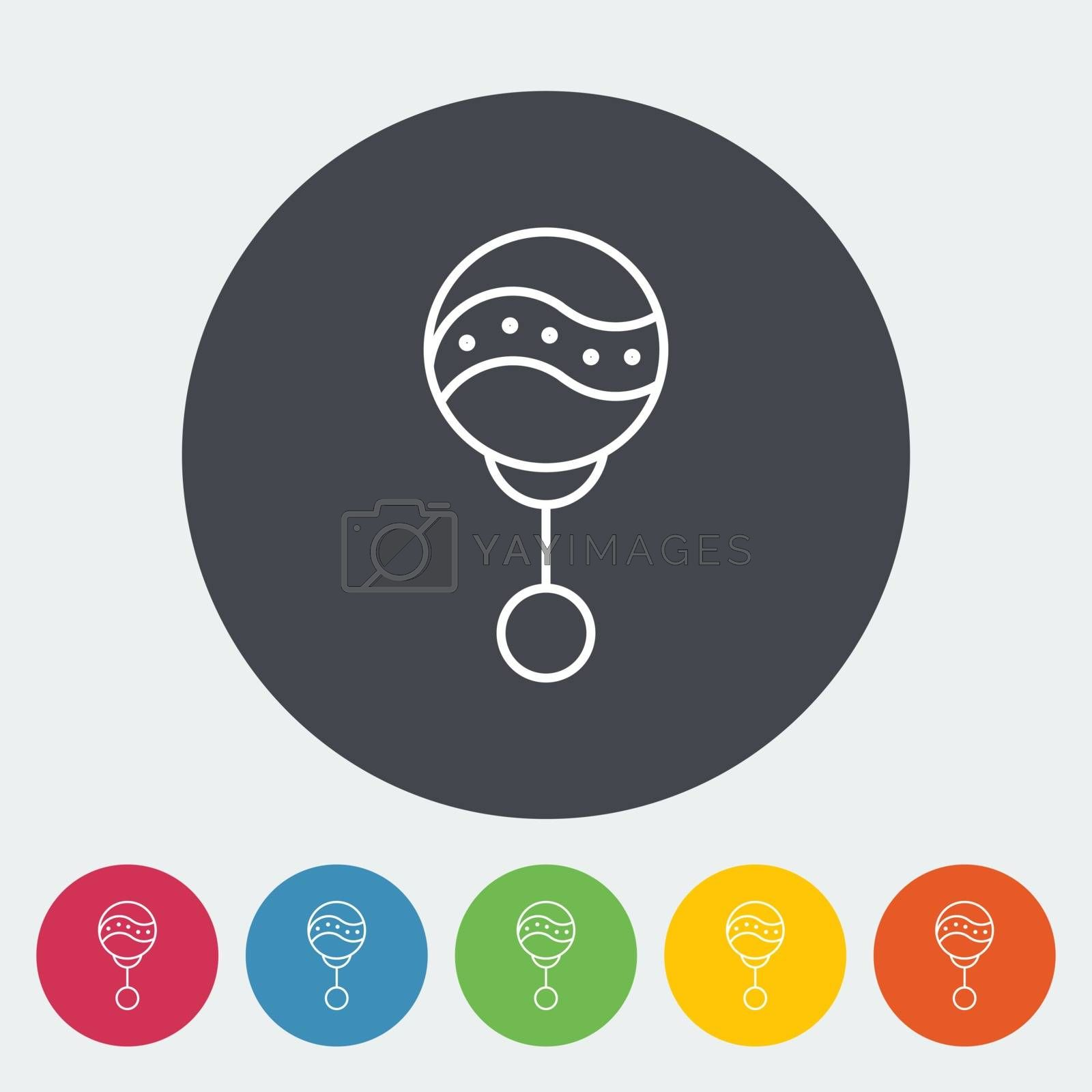 Rattle icon. Thin line flat vector related icon for web and mobile applications. It can be used as - logo, pictogram, icon, infographic element. Vector Illustration.