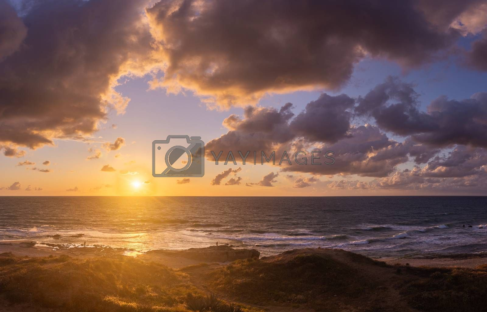 Sunset clouds on sea beach of romantic vacation by javax