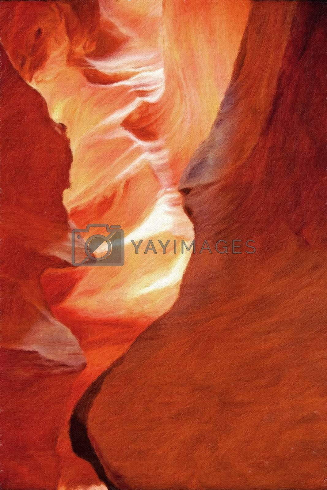 Antelope Canyon USA. Oil painting. Canvas. 3D rendering