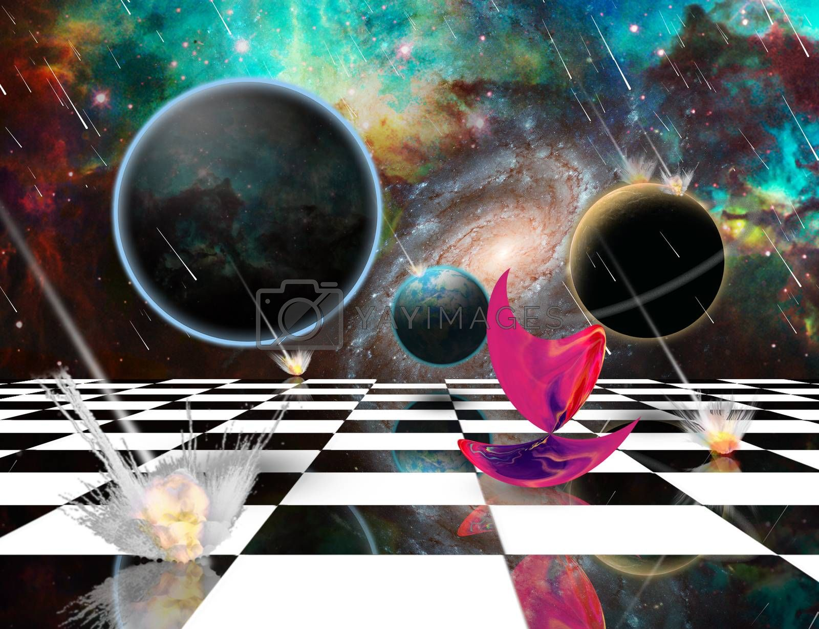 Planetary Armageddon. Massive meteorite - asteroid shower destroy planets. Mystic Pink Matter on chessboard. 3D rendering