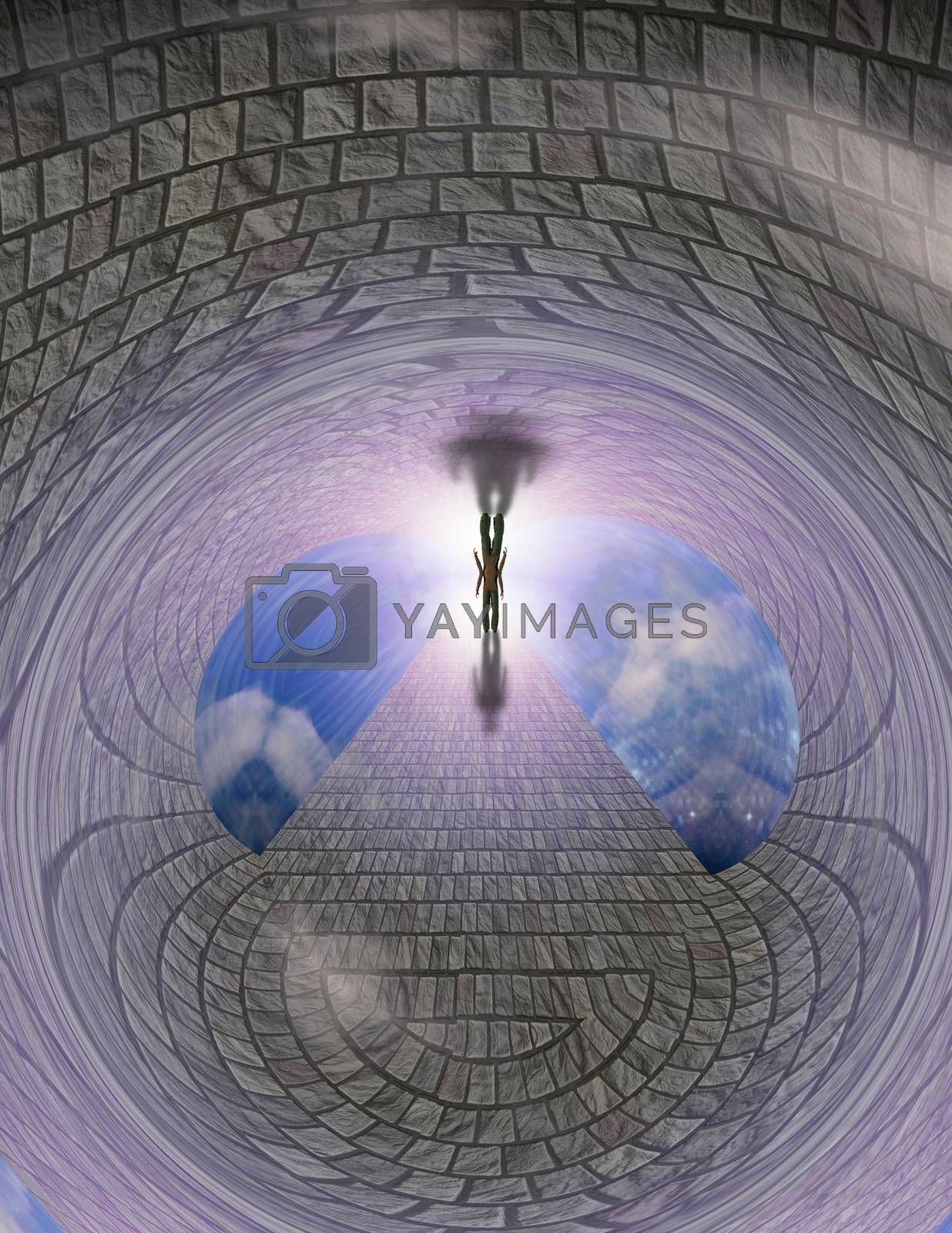Man walks on a stone road to bright light. 3D rendering