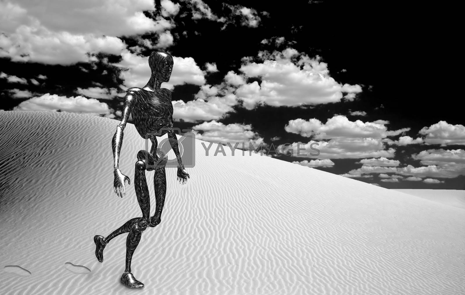 Robot in surreal white desert. 3D rendering