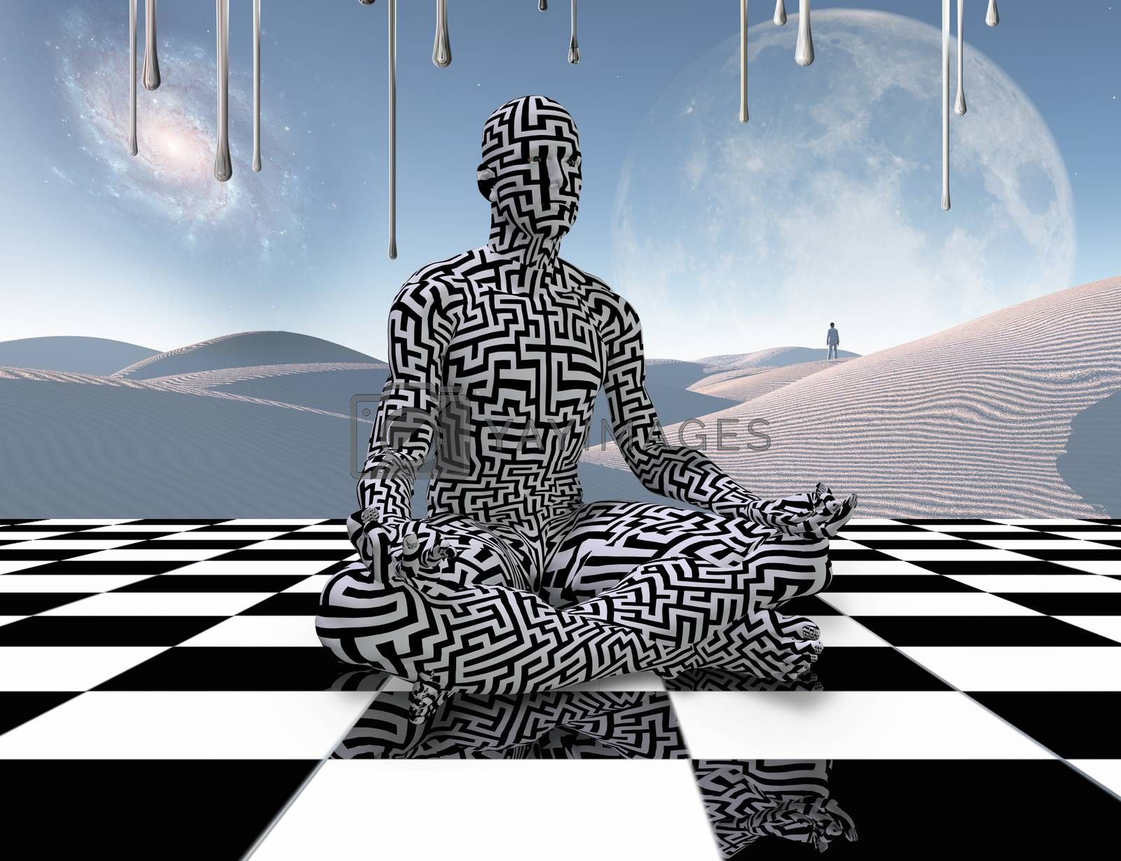 Surrealism. Man with maze pattern sits in lotus pose on a chess board. Lonely traveler in the white sands dune. 3D rendering