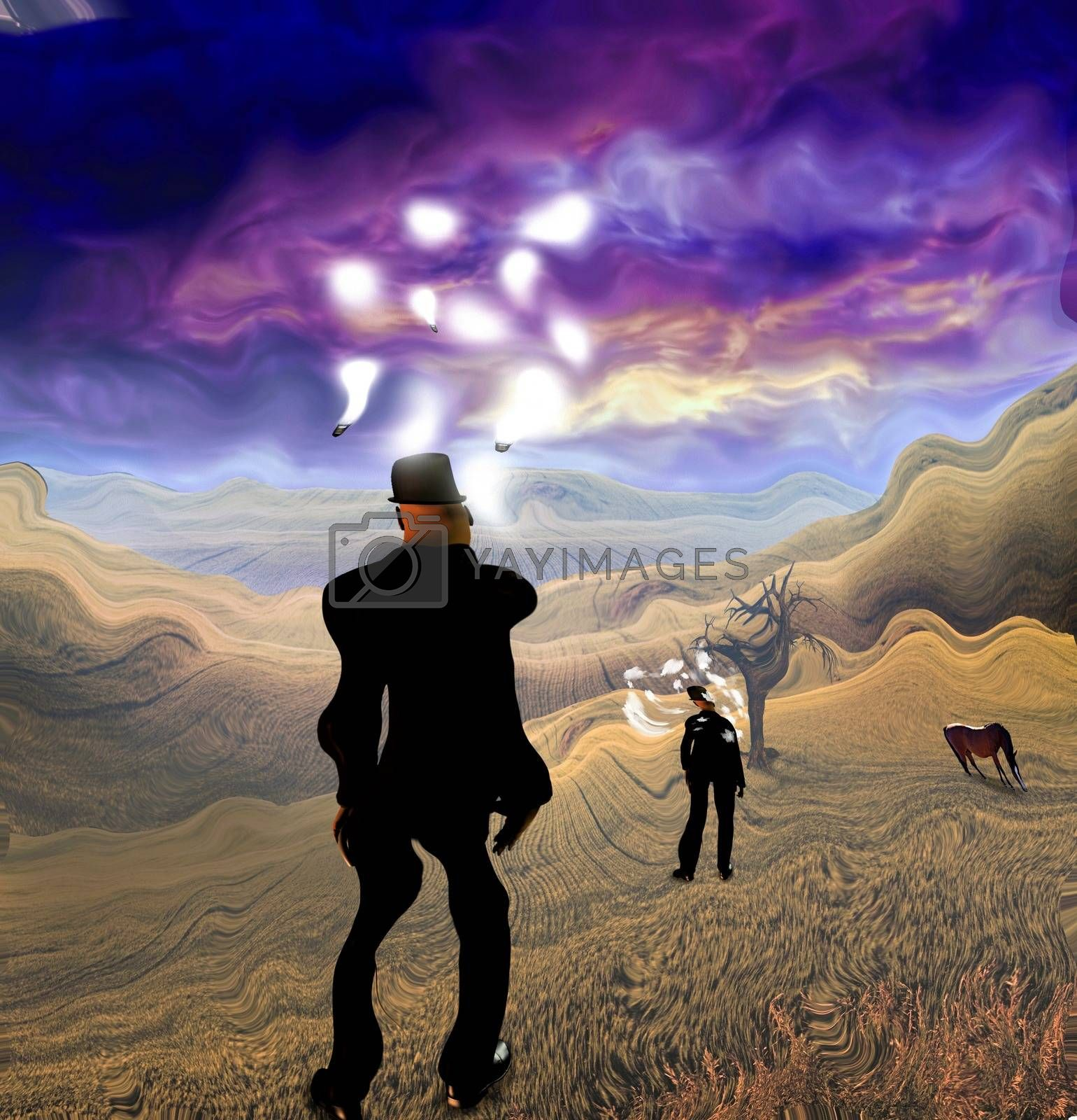 Surreal painting. Man in suit stands in field. Light bulbs around his head represents ideas. Horse grazes.