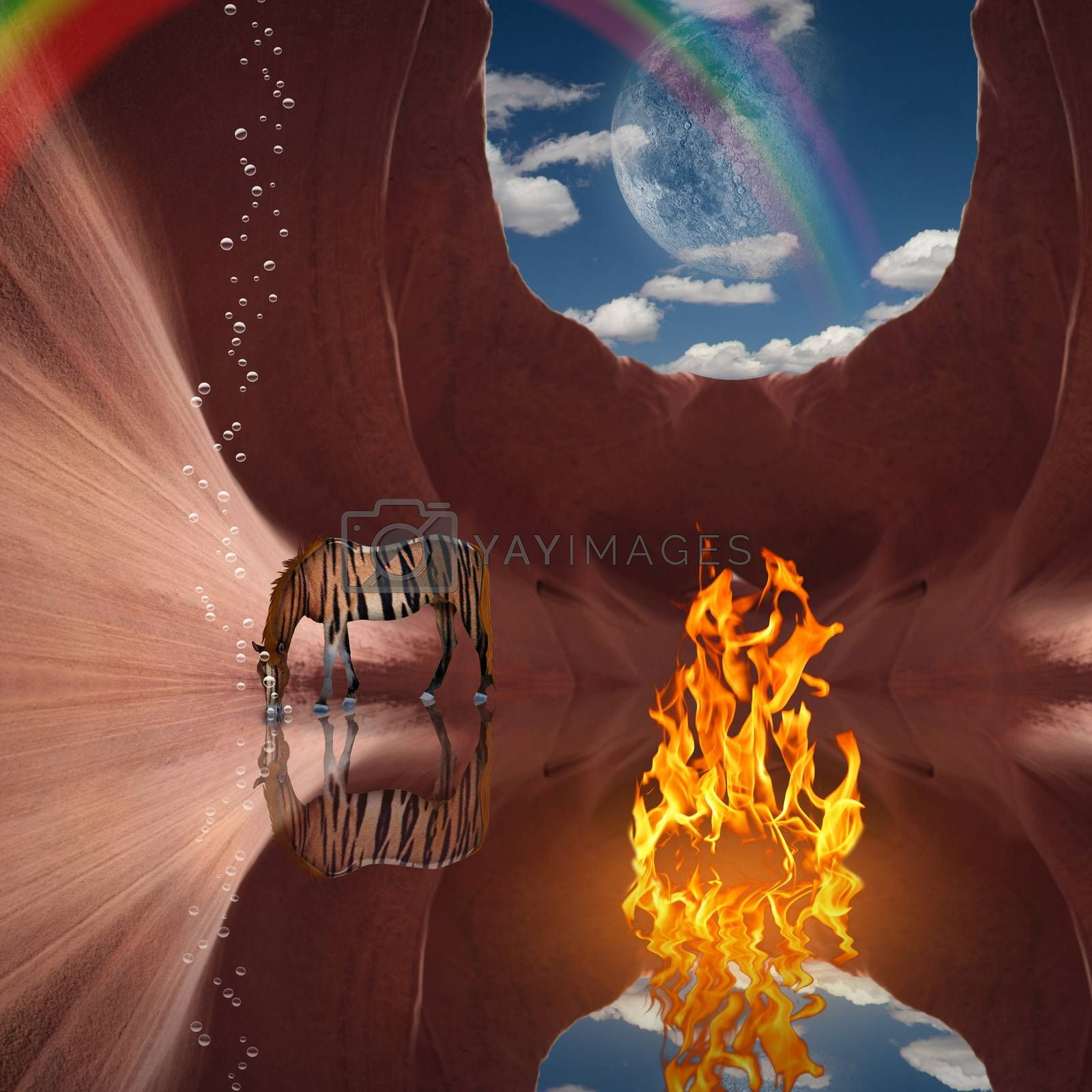 Surrealism. Red rock cave with fire and striped horse. Rainbow and moon in the sky. 3D rendering