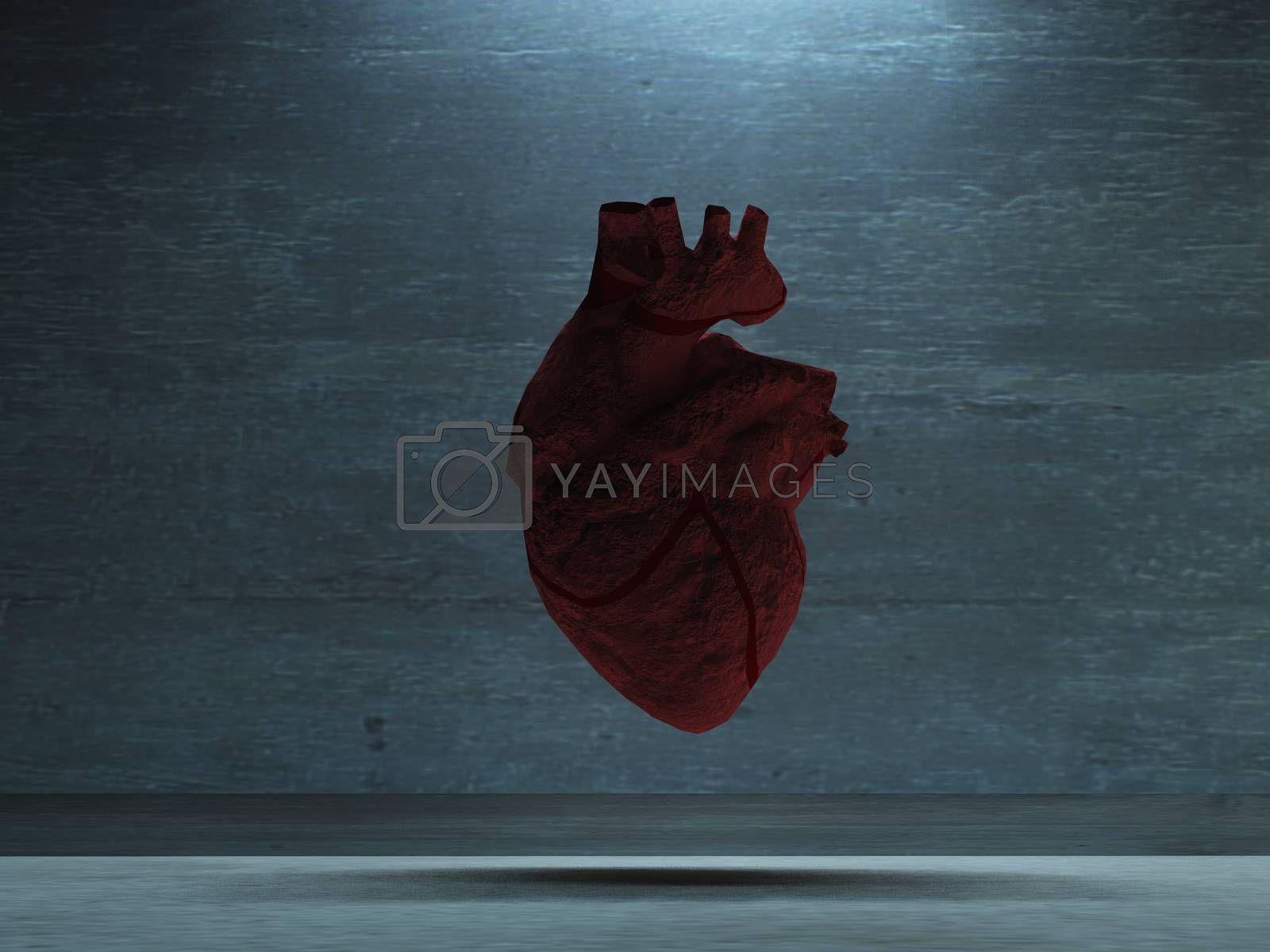 Human Heart of Stone. 3D rendering