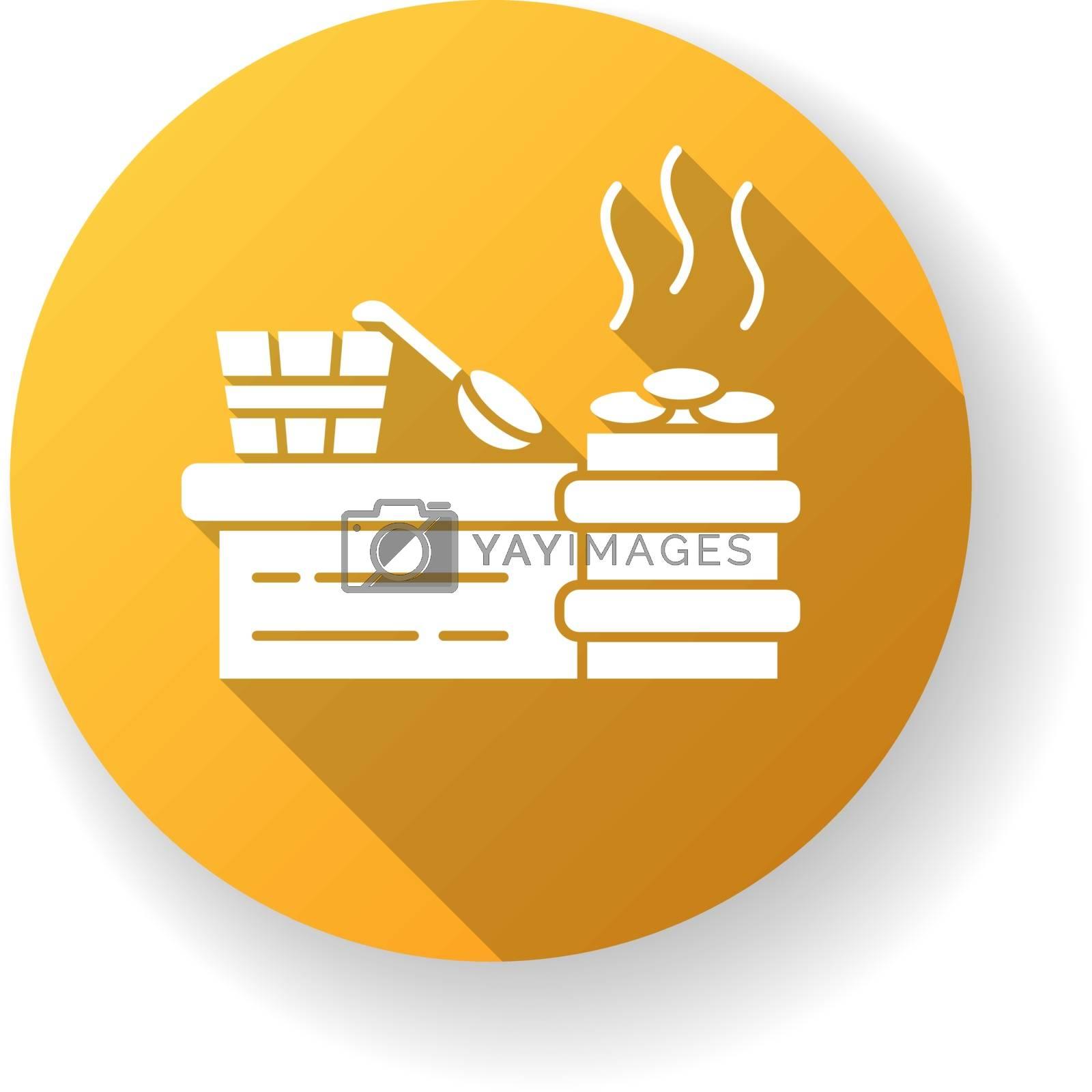 Steam room yellow flat design long shadow glyph icon. Sauna recreation, vaporarium. Steam bath, bathhouse accessories. Water bucket, wooden spoon and heated stones silhouette RGB color illustration