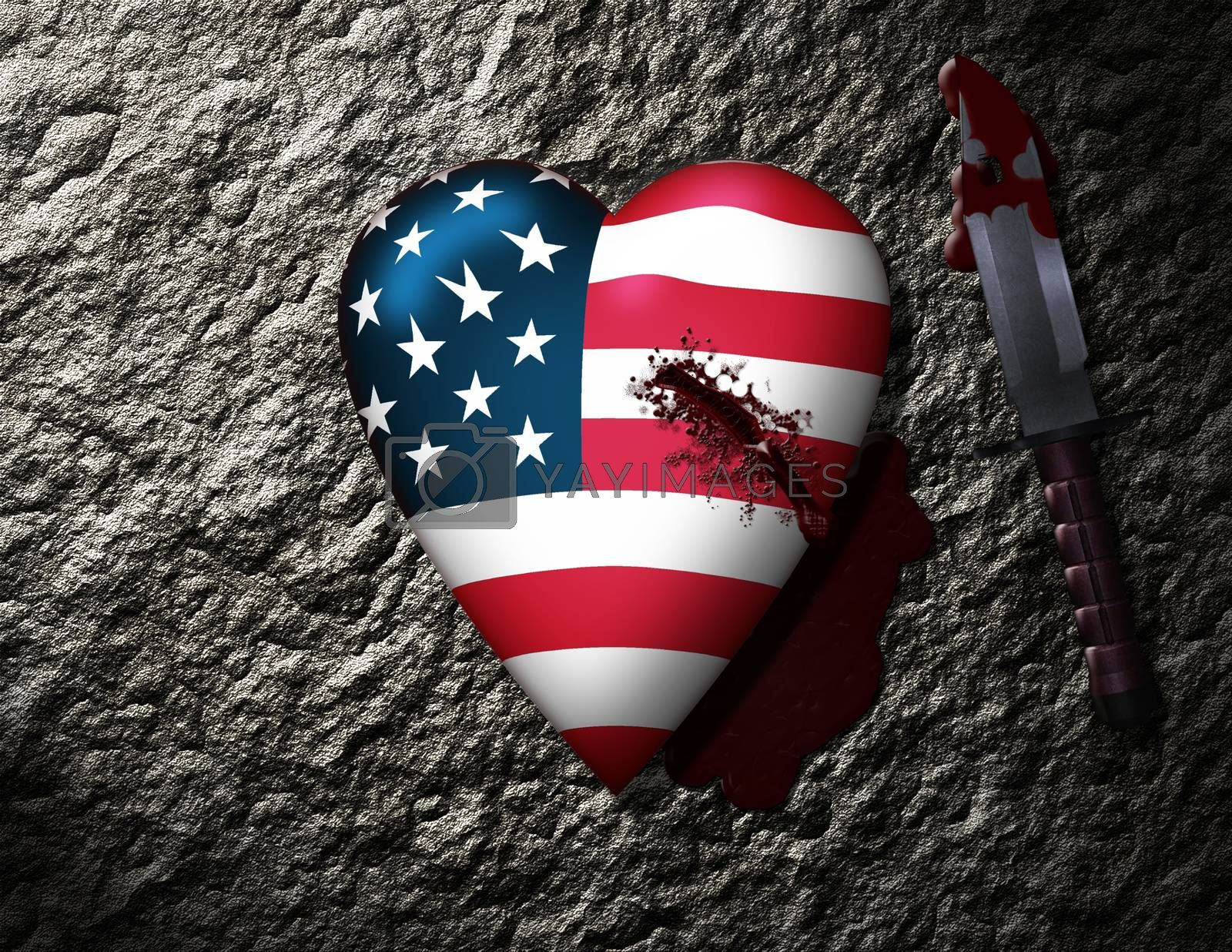 USA Heart Stabbed by Knife