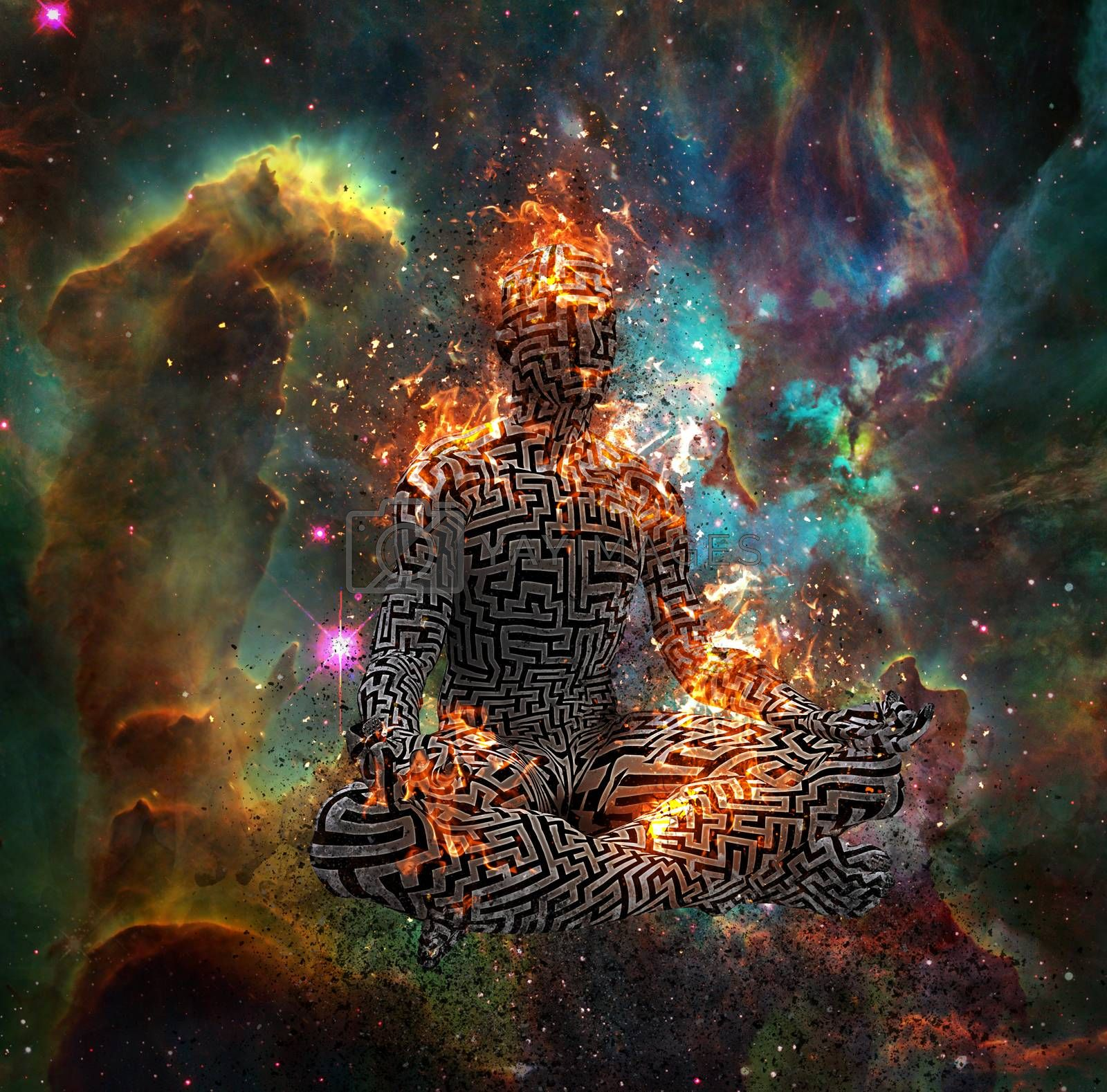Surrealism. Figure of man with maze pattern in lotus pose in flames. 3D rendering. Some elements provided courtesy of NASA