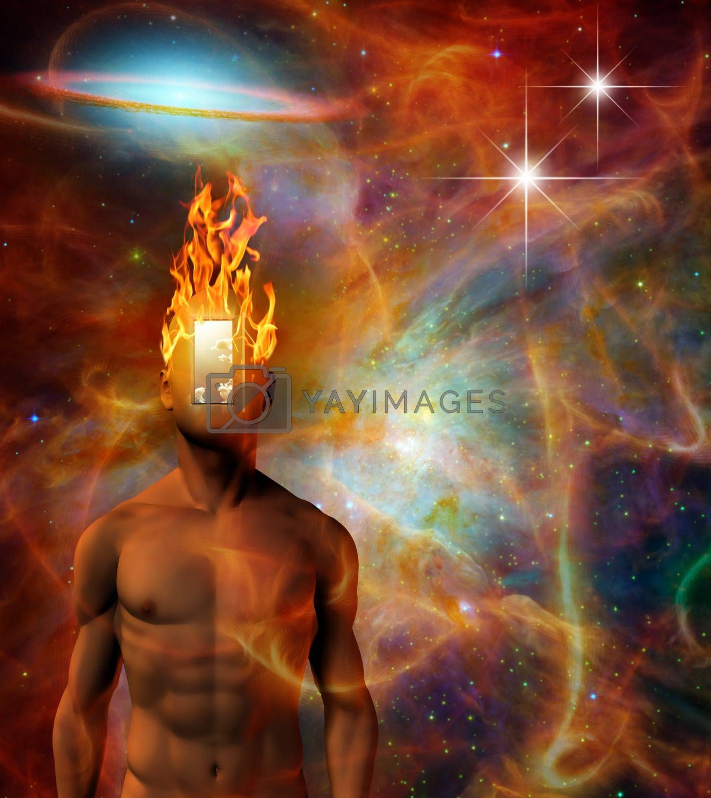 Burning mind in cosmic space by applesstock