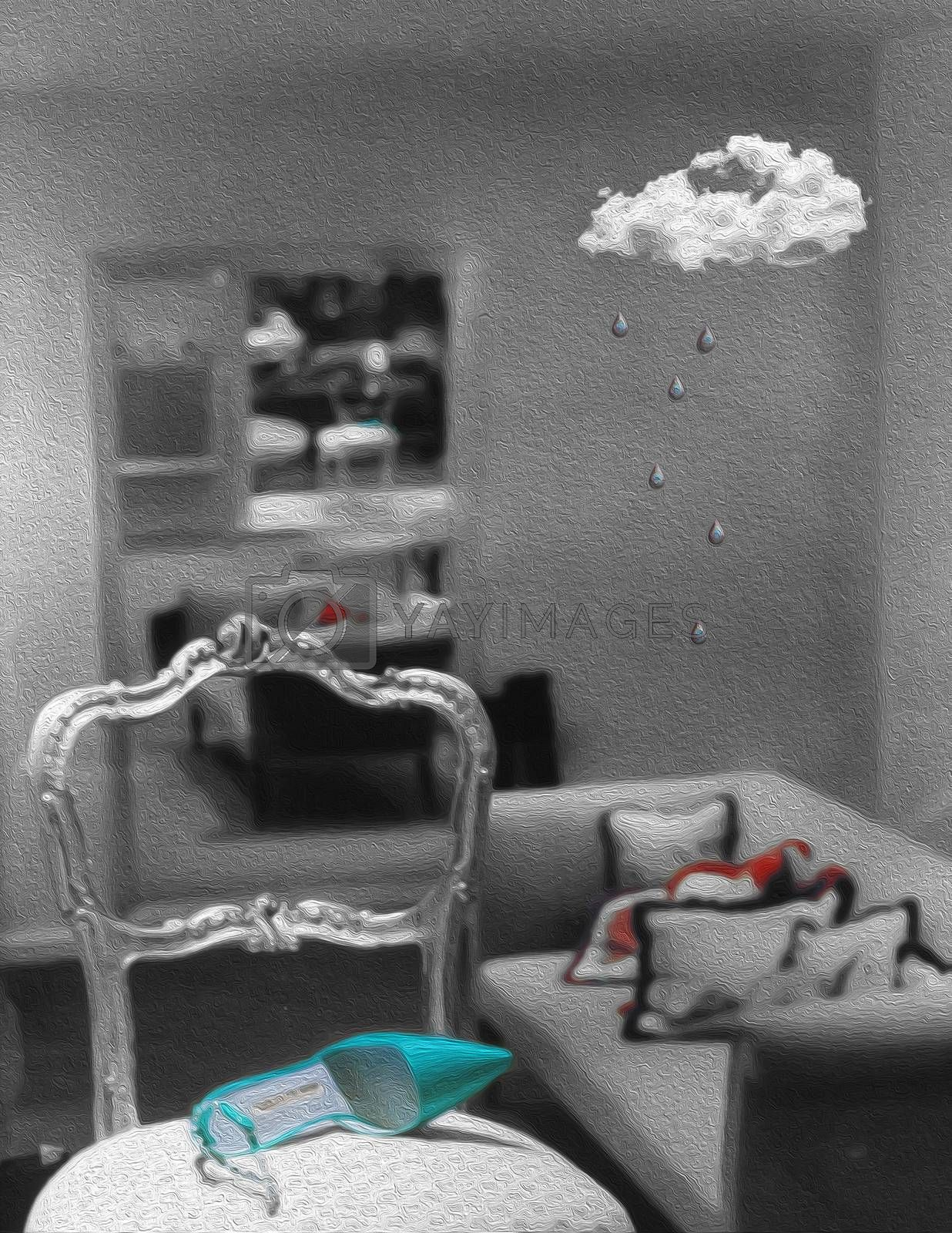 Symbolic composition. Woman's shoe on a chair. Rainy cloud in living room