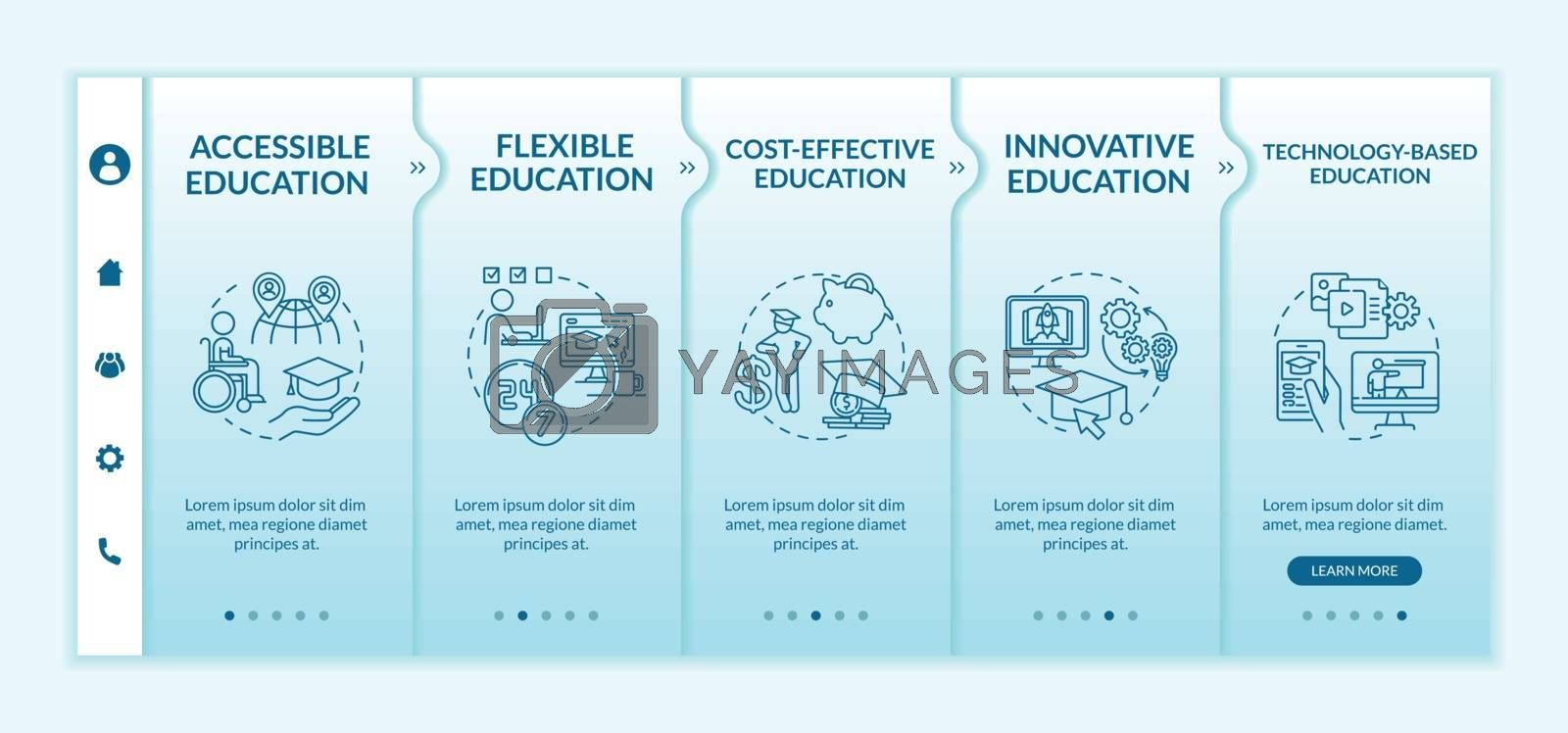 Distance learning pros onboarding vector template. Online education. Synchronous learning. Responsive mobile website with icons. Webpage walkthrough step screens. RGB color concept