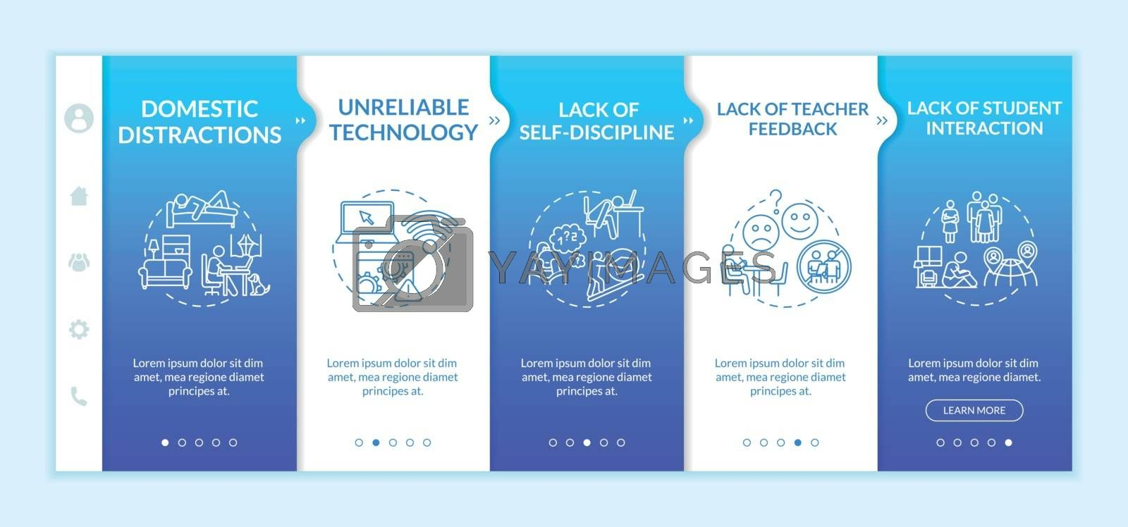 Distance learning cons onboarding vector template. Correspondence education. Remote learning. Responsive mobile website with icons. Webpage walkthrough step screens. RGB color concept