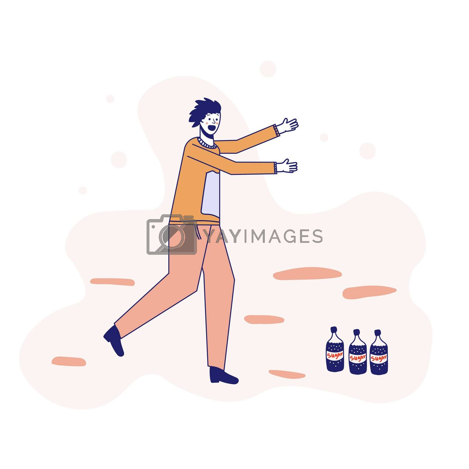 Soda addiction concept illustration. The man runs to the soda bottles. An unhealthy lifestyle, unhealthy diet, and a sweet tooth. illustration. Lines.