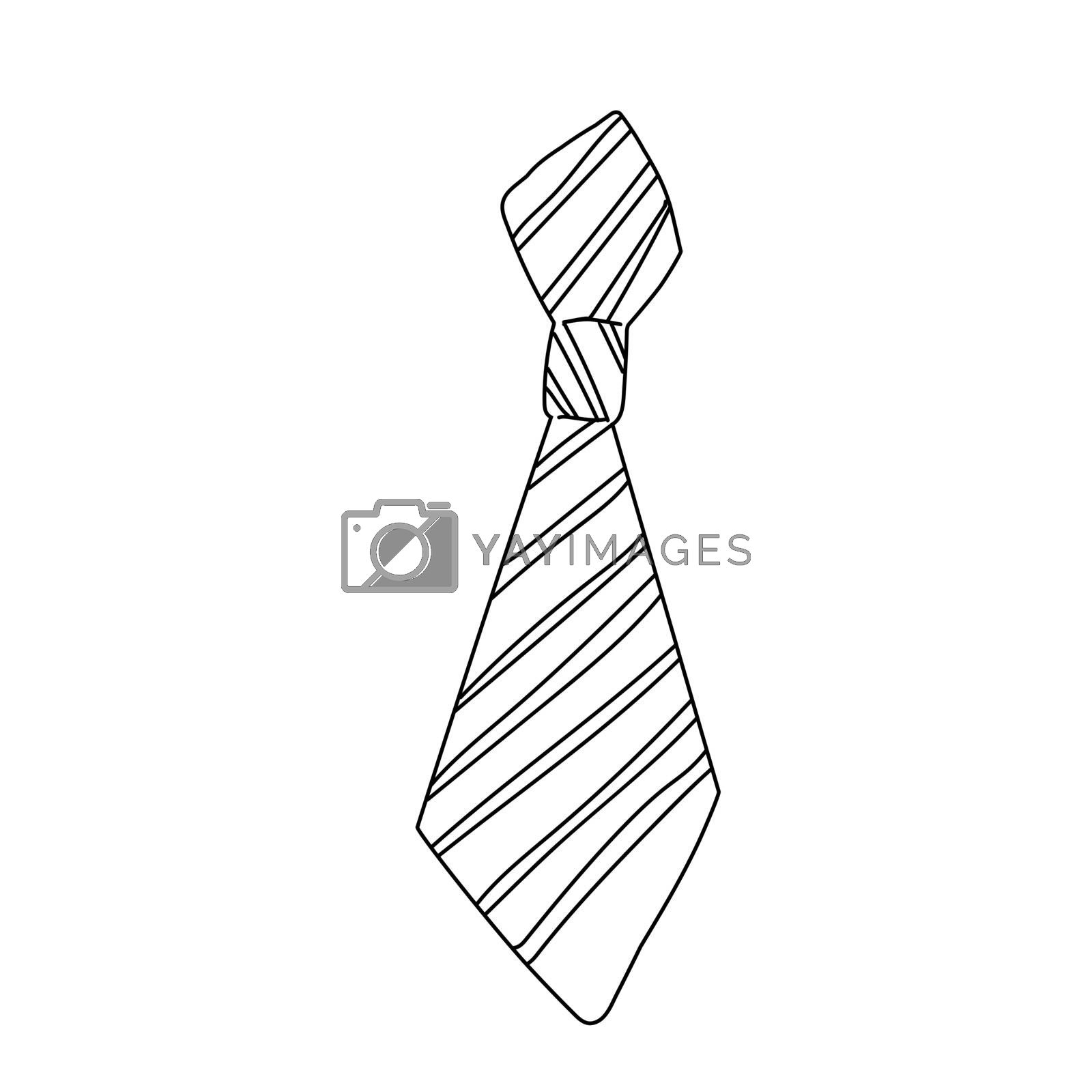 Windsor neckwear form design. Tie sign isolated on white background. Freehand outline ink hand drawn doodle icon sketchy in art scribble style pen on paper by zaryov