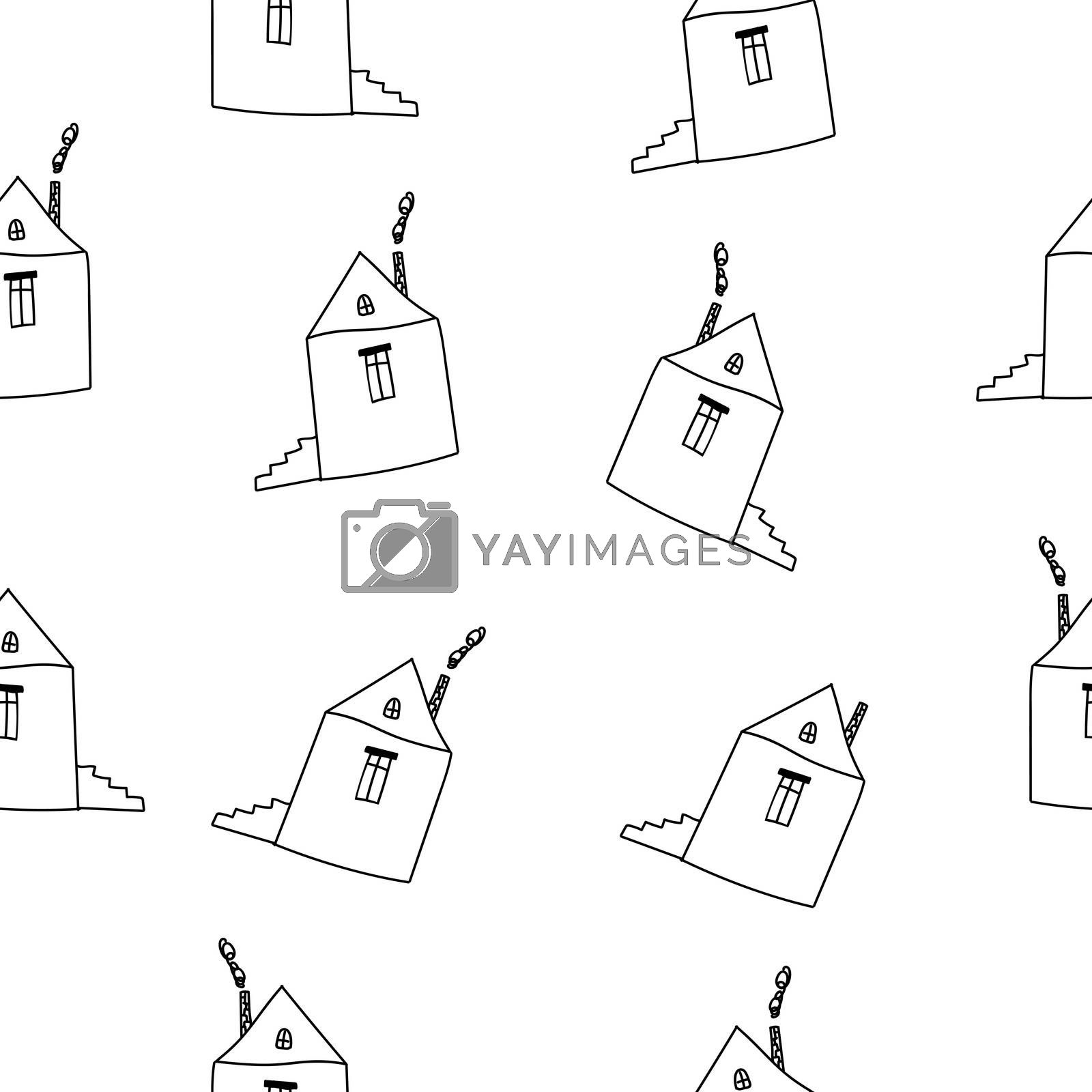 Cartoon Outline Hand Drawn Houses on White Background Seamless Pattern.
