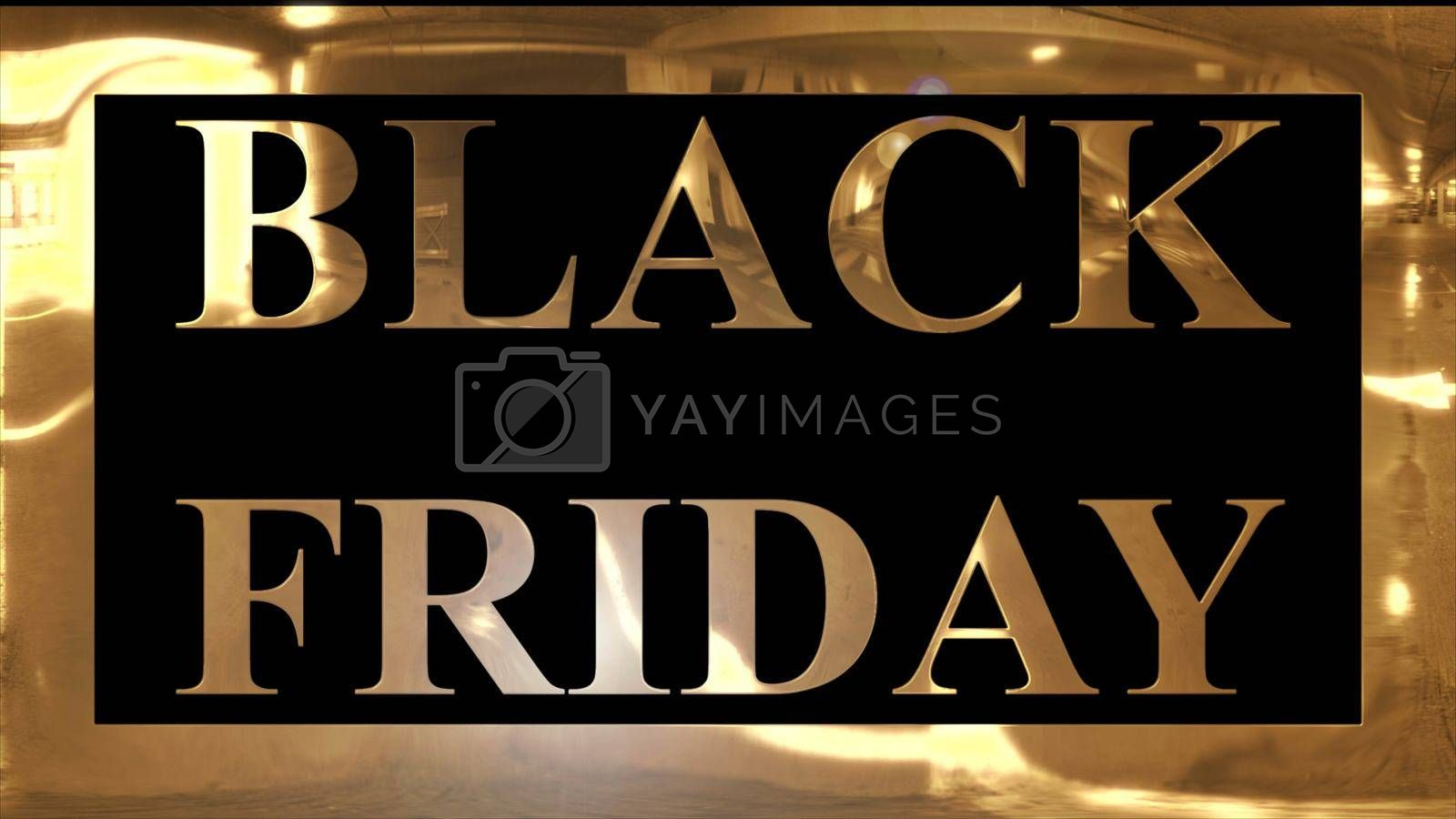 """Golden and shining text of """"BLACK FRIDAY"""" with golden frame and dark black background"""