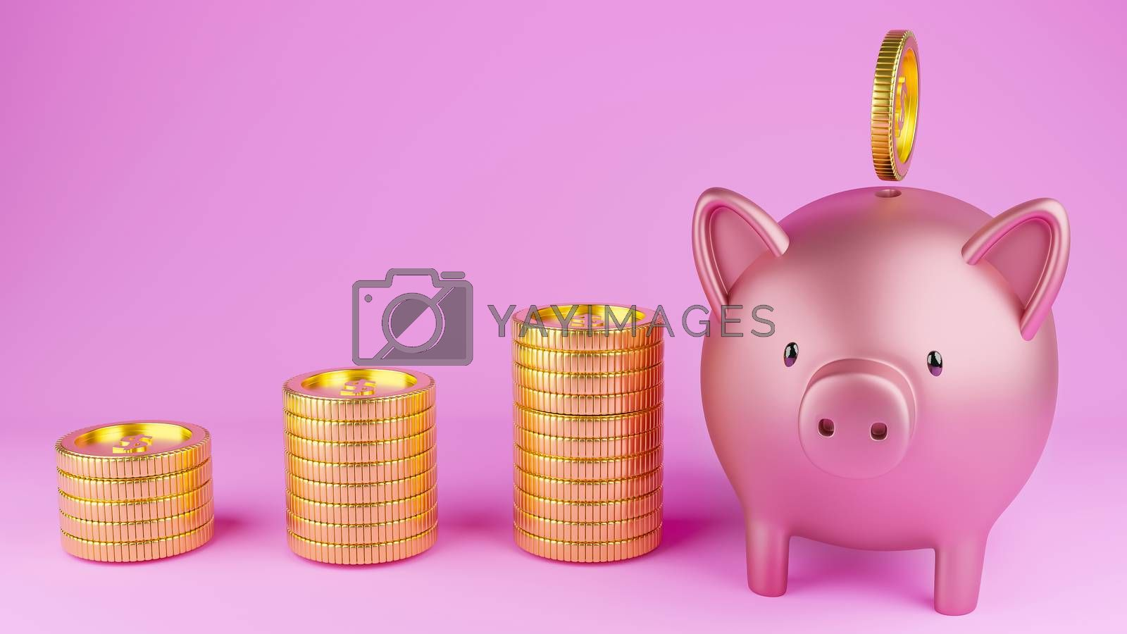 3D rendered image of a metallic pink piggy bank and gold coins on pink background.
