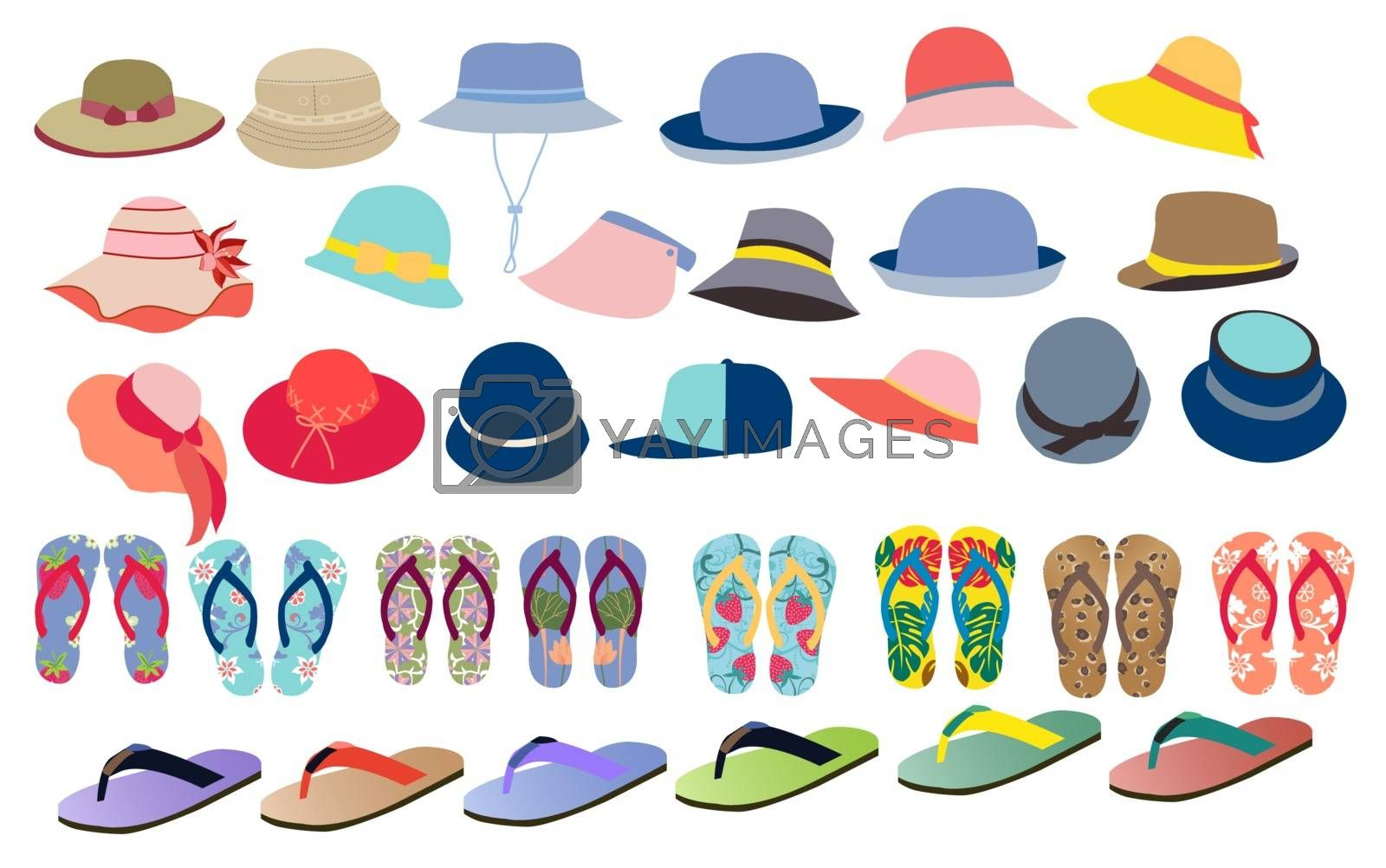 Vector set with cute and colorful summer accessories hats, flip flops for beach holiday design. Collection of accessories for men and women clothes icons