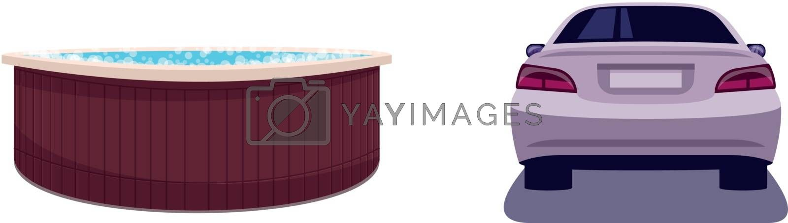 Weekend entertainment semi flat RGB color vector illustration set. Hot tub for relaxation. Bathtub with bubbles. Auto for driving. Private luxury isolated cartoon object on white background collection