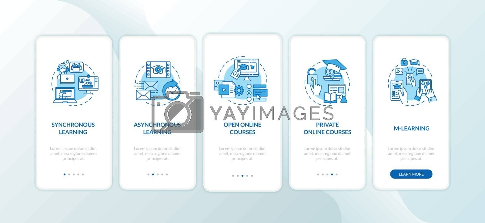 Distance learning types onboarding mobile app page screen with concepts. Synchronous learning. E learning walkthrough 5 steps graphic instructions. UI vector template with RGB color illustrations