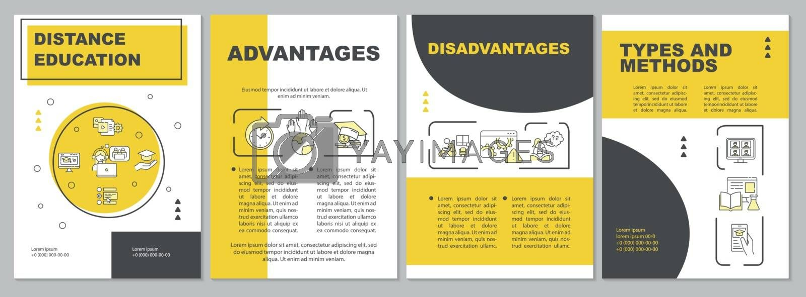 Distance education brochure template. Remote learning methods. Flyer, booklet, leaflet print, cover design with linear icons. Vector layouts for magazines, annual reports, advertising posters