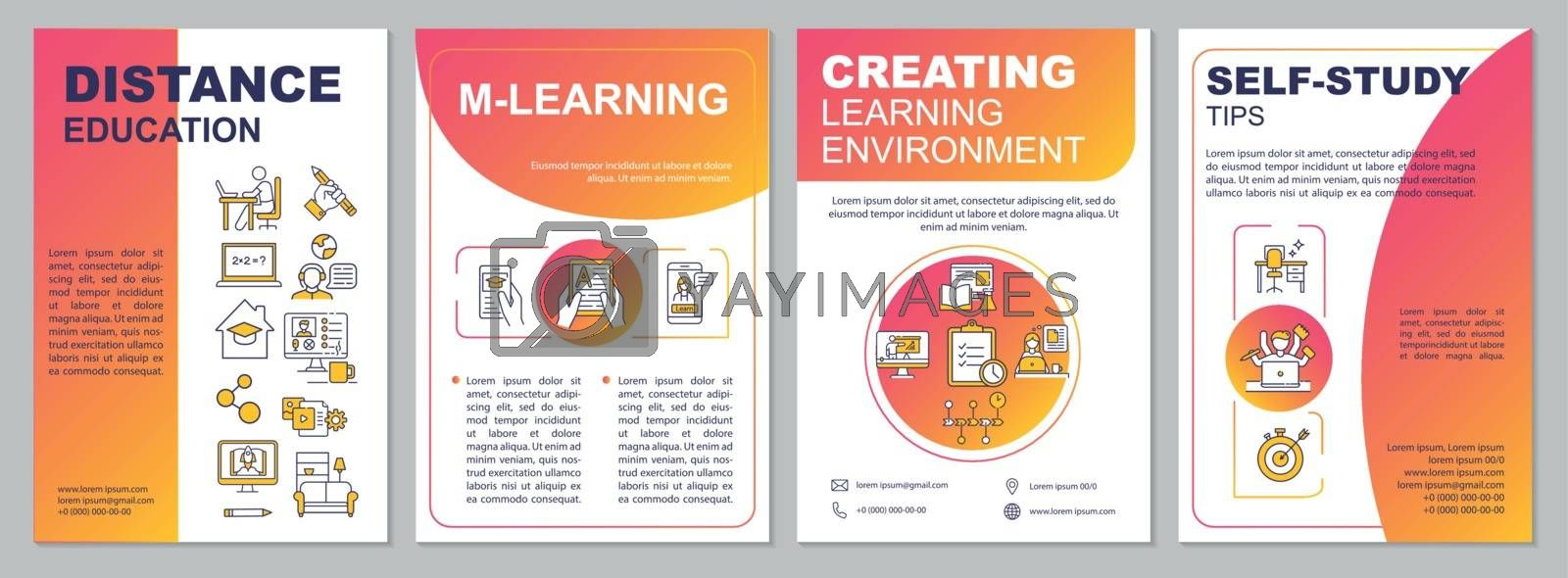 Online education brochure template. Mlearning. Self study. Flyer, booklet, leaflet print, cover design with linear icons. Vector layouts for magazines, annual reports, advertising posters