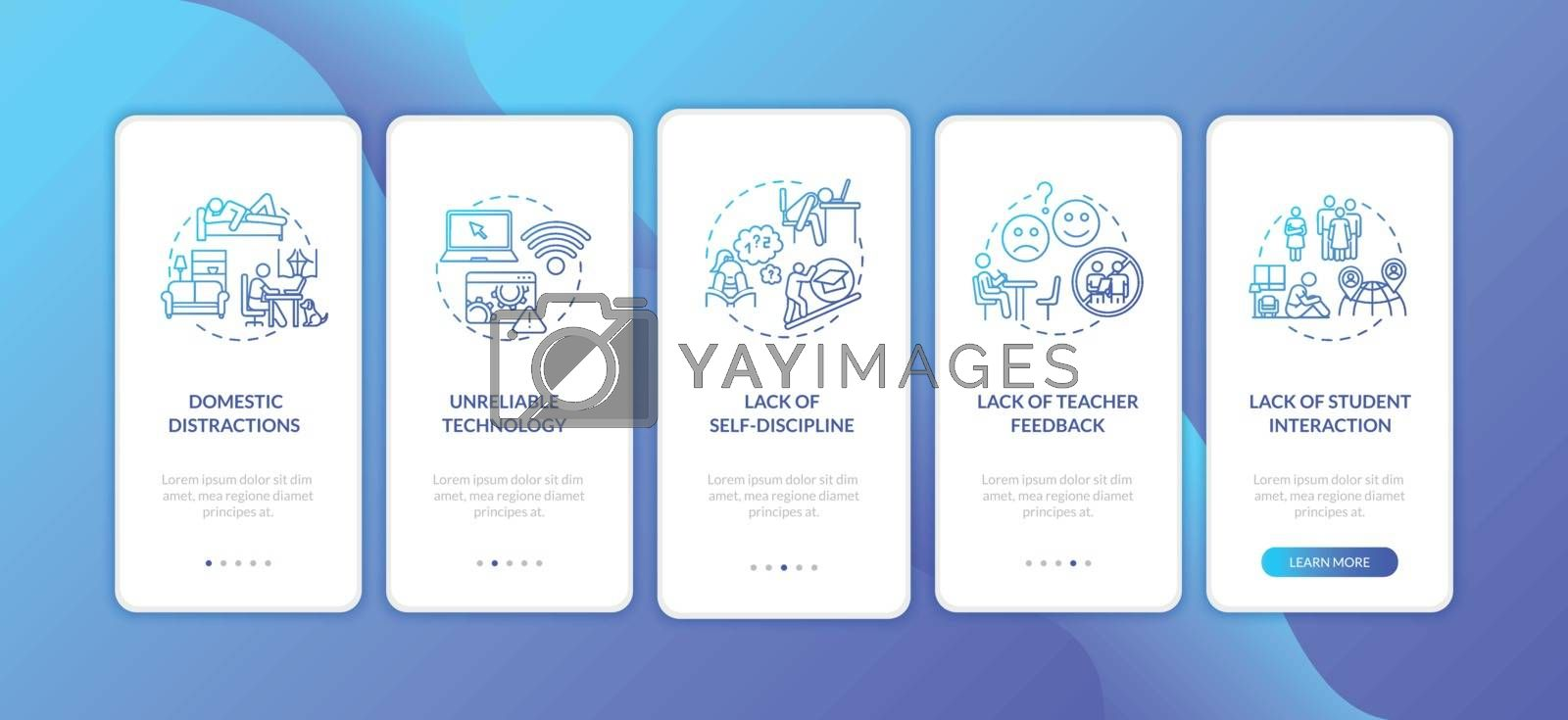 Distance learning cons onboarding mobile app page screen with concepts. Lack of self discipline. E learning walkthrough 5 steps graphic instructions. UI vector template with RGB color illustrations