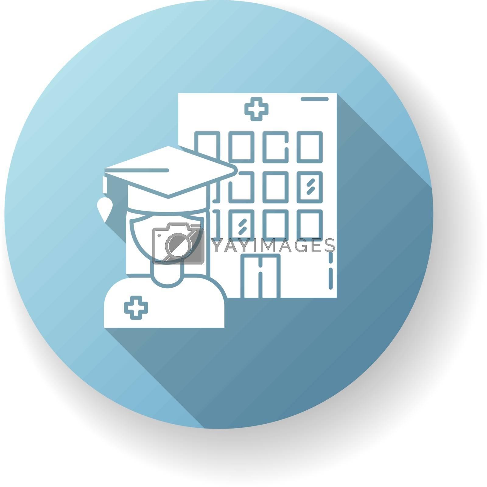 Medical school blue flat design long shadow glyph icon. Vocational education, professional university. Doctor, nurse training courses. Medical academy graduate silhouette RGB color illustration
