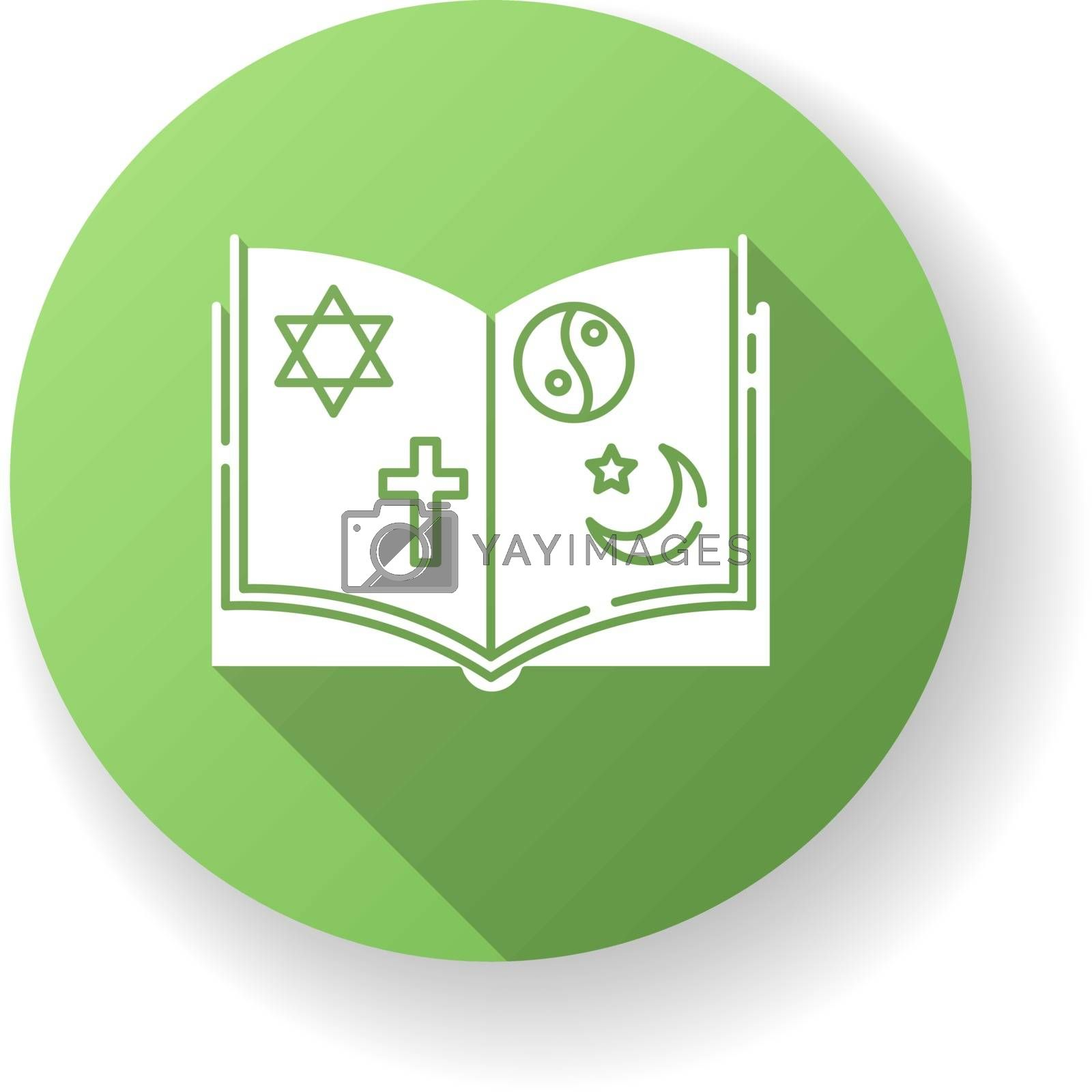 Religious education green flat design long shadow glyph icon. Book with judaism, christianity, taoism and islam signs. Theology subject. Studying religion. Silhouette RGB color illustration