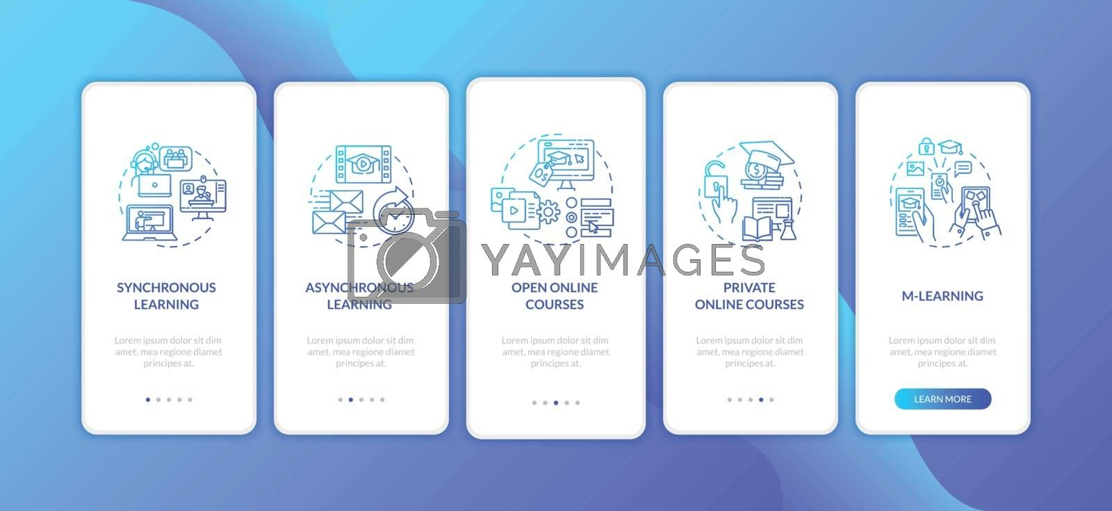 Distance learning types onboarding mobile app page screen with concepts. Asynchronous learning. Walkthrough 5 steps graphic instructions. UI vector template with RGB color illustrations