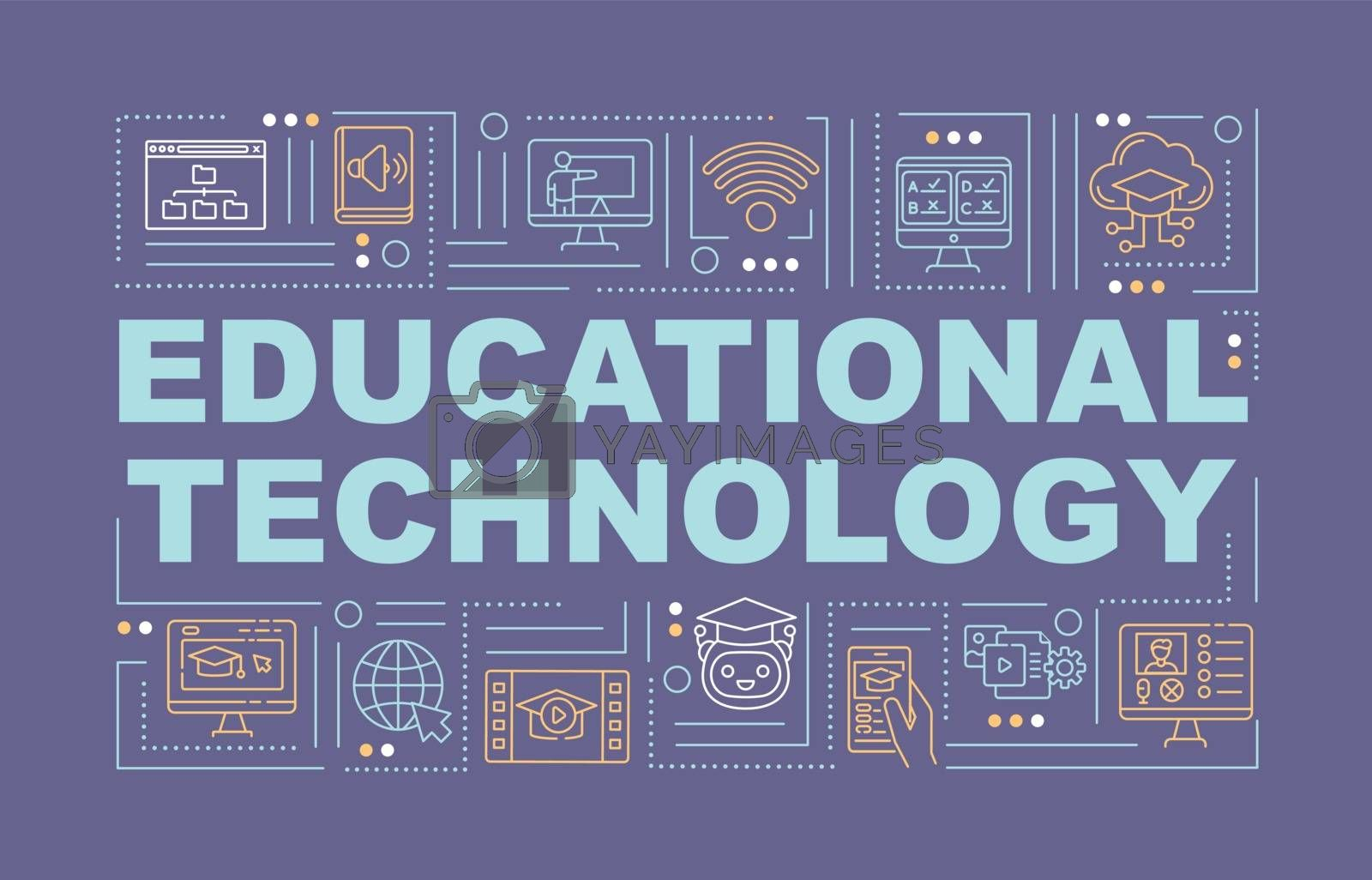 Educational technology word concepts banner. Digital and internet learning. Infographics with linear icons on violet background. Isolated typography. Vector outline RGB color illustration