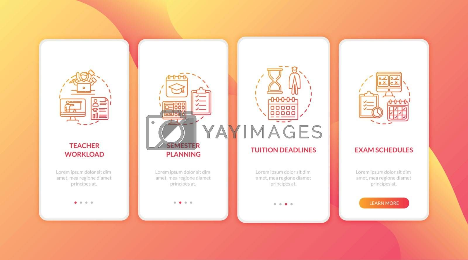 Distance learning elements onboarding mobile app page screen with concepts. Tuition deadlines. E learning walkthrough 4 steps graphic instructions. UI vector template with RGB color illustrations