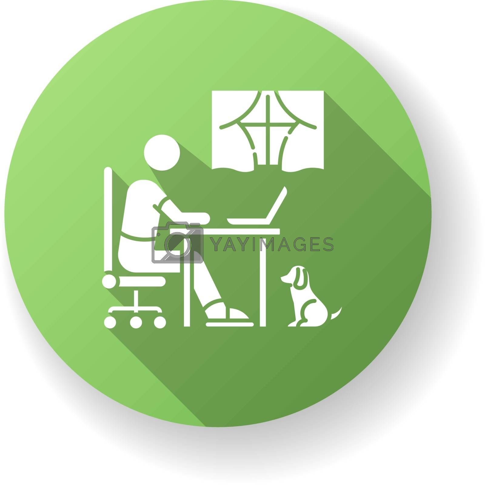 Home schooling green flat design long shadow glyph icon. Online classes, internet training course. Distant education, e learning. Remote student with laptop silhouette RGB color illustration