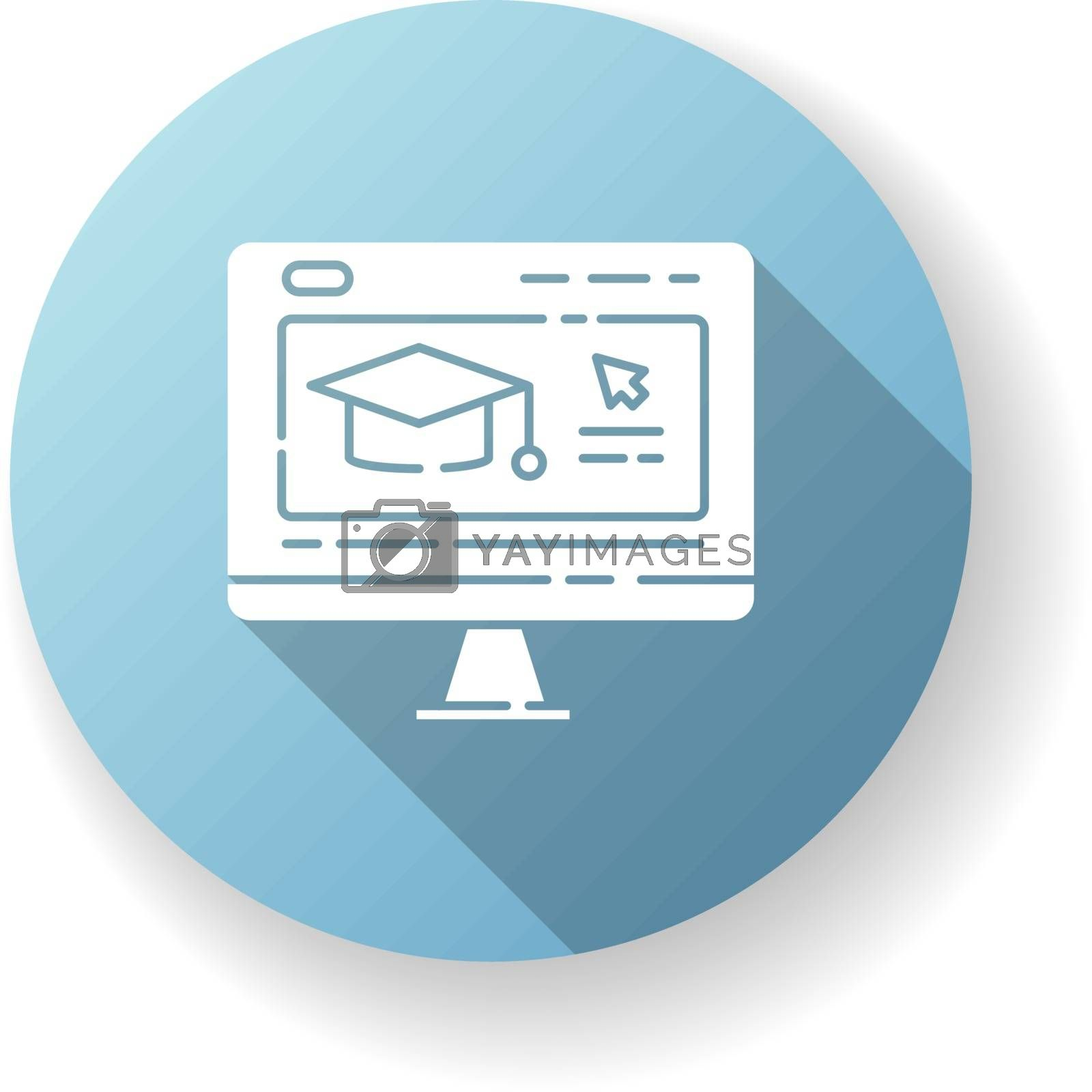 Online education blue flat design long shadow glyph icon. Internet school, e learning. Remote studying, home education. Distant training courses, webinars. Silhouette RGB color illustration