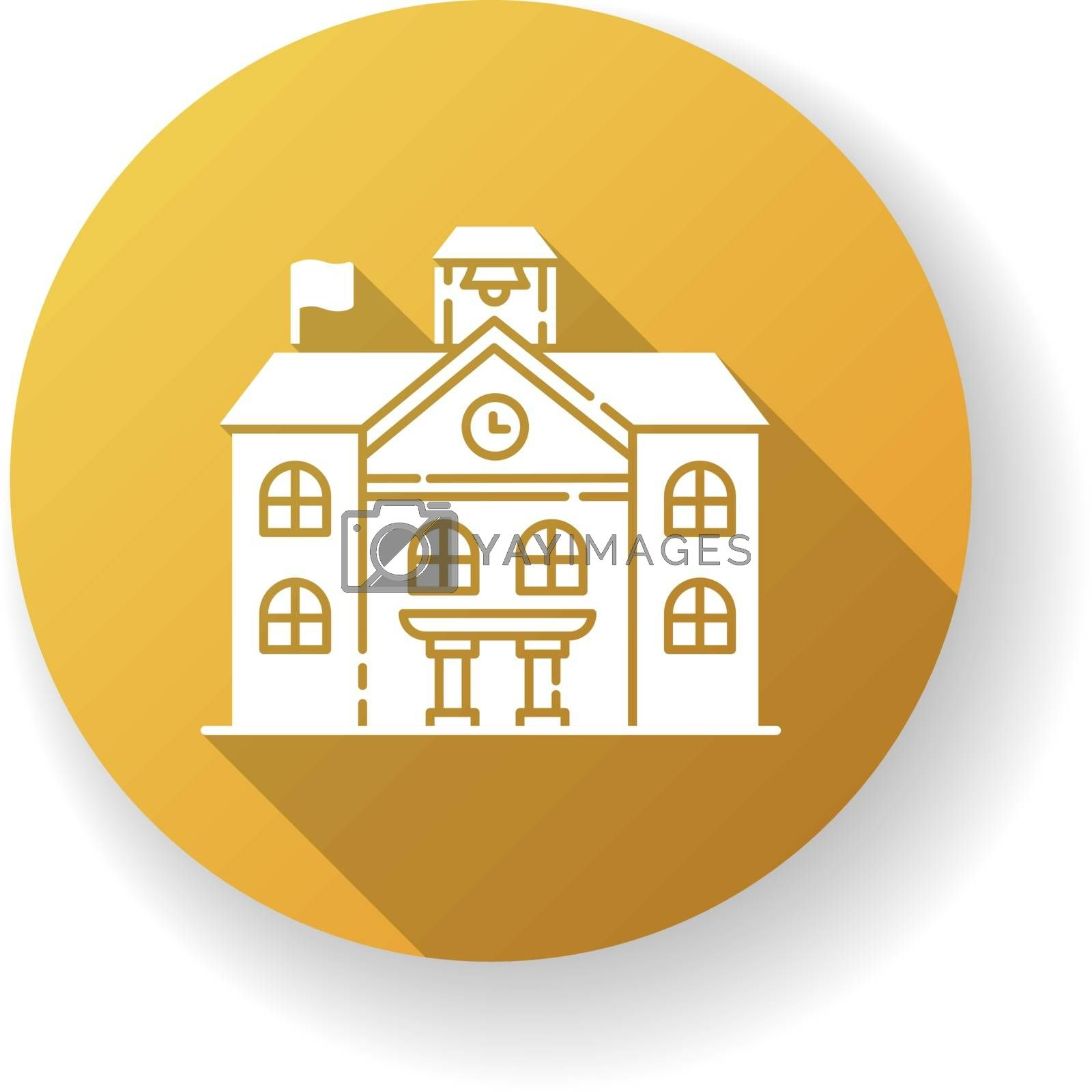Private school yellow flat design long shadow glyph icon. Prestigious educational establishment, independent academic institution. Exclusive education system. Silhouette RGB color illustration