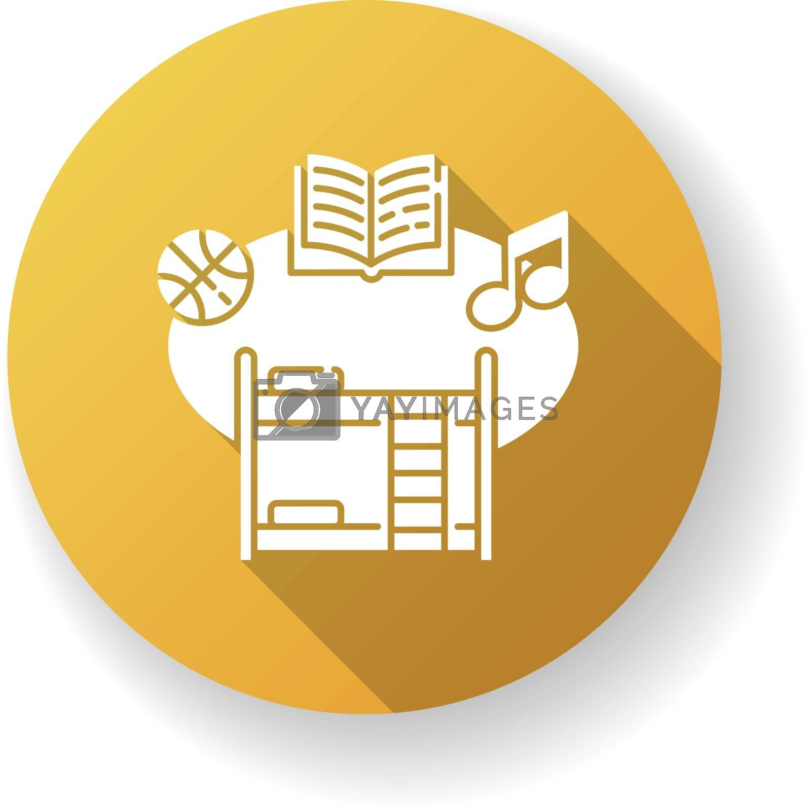 Boarding school yellow flat design long shadow glyph icon. Educational institution with extracurricular activities and accommodation for students. College dorm. Silhouette RGB color illustration