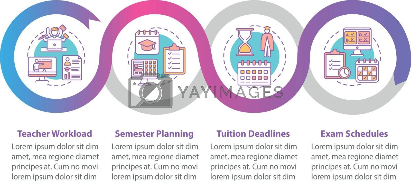 Distance learning elements vector infographic template. Semester planning. Presentation design elements. Data visualization with 4 steps. Process timeline chart. Workflow layout with linear icons
